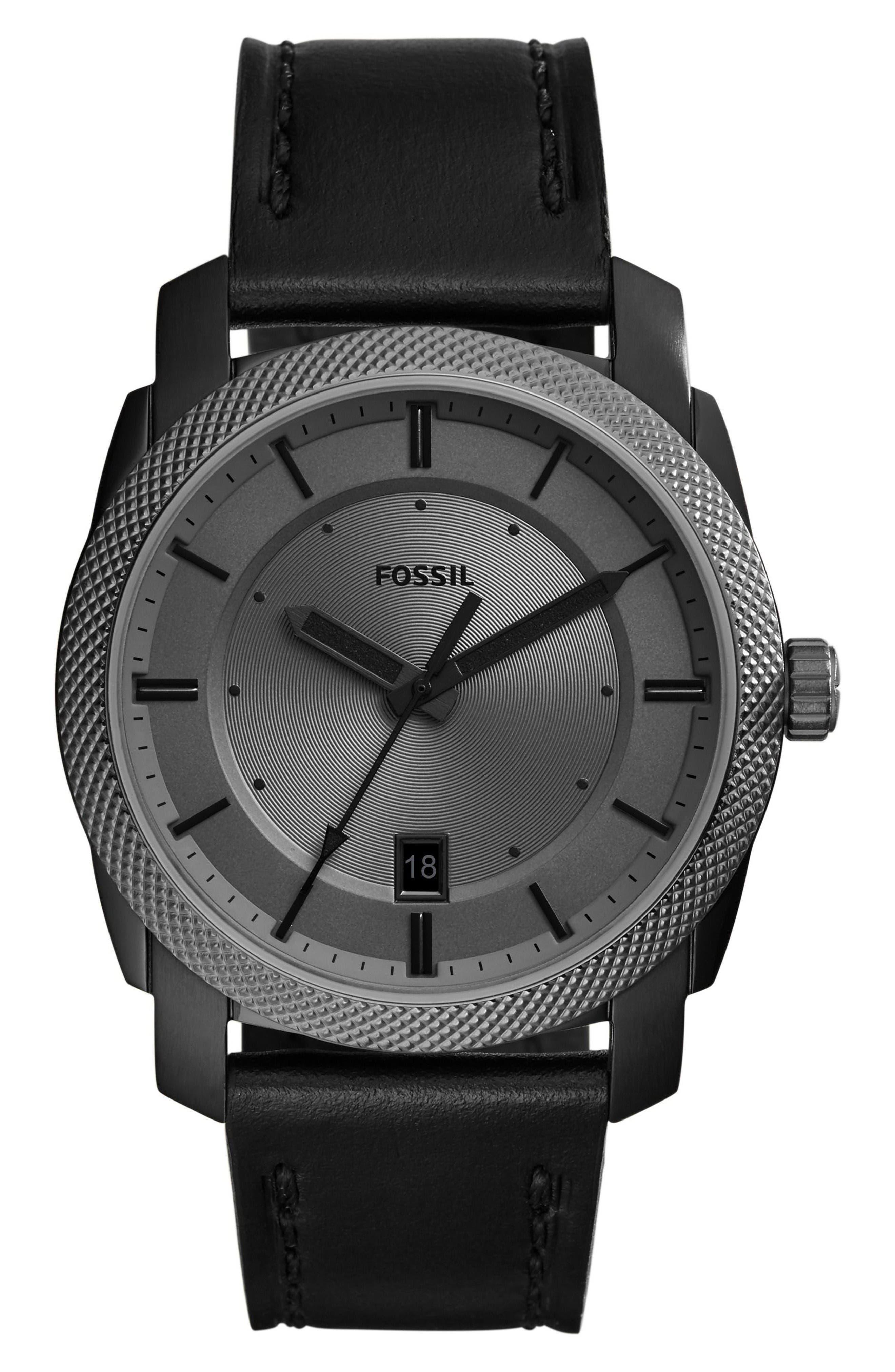 Fossil Machine Leather Strap Watch, 42mm