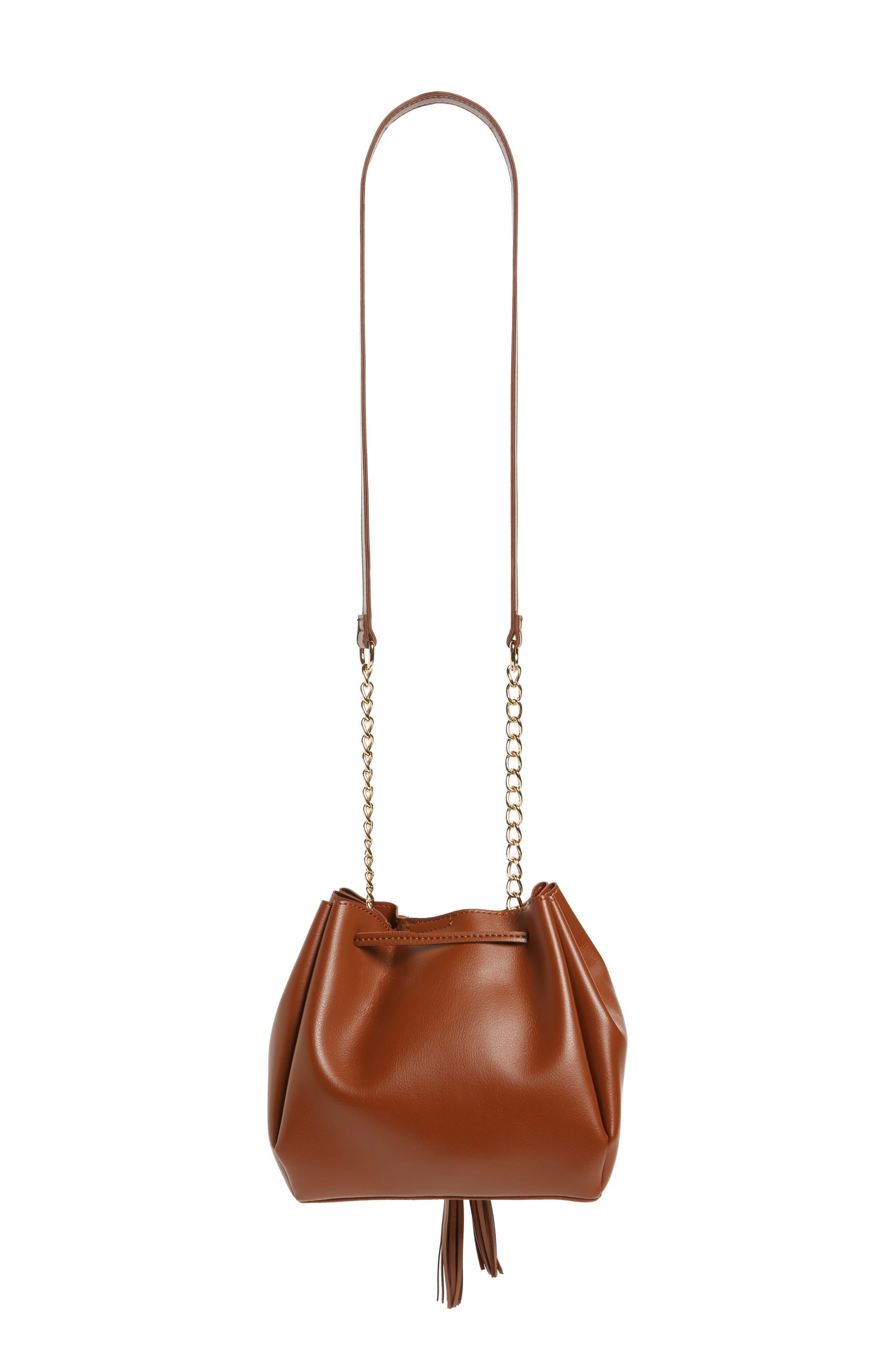 Dahlia Faux Leather Bucket Bag,                             Alternate thumbnail 3, color,                             Cognac