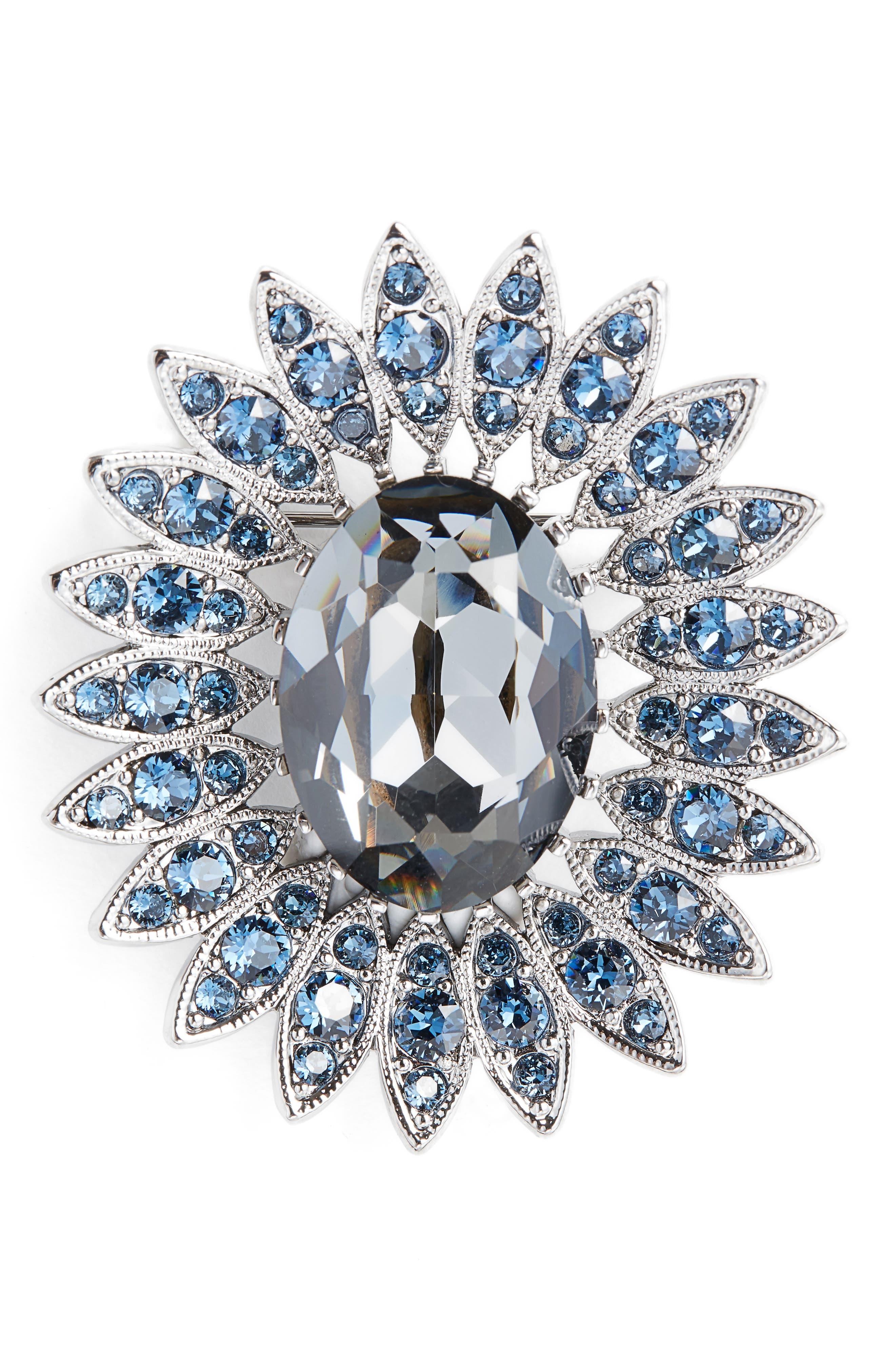 Swarovski Crystal Pin,                             Main thumbnail 1, color,                             Dark Ruth/Crystl Silv Ngt/Mont