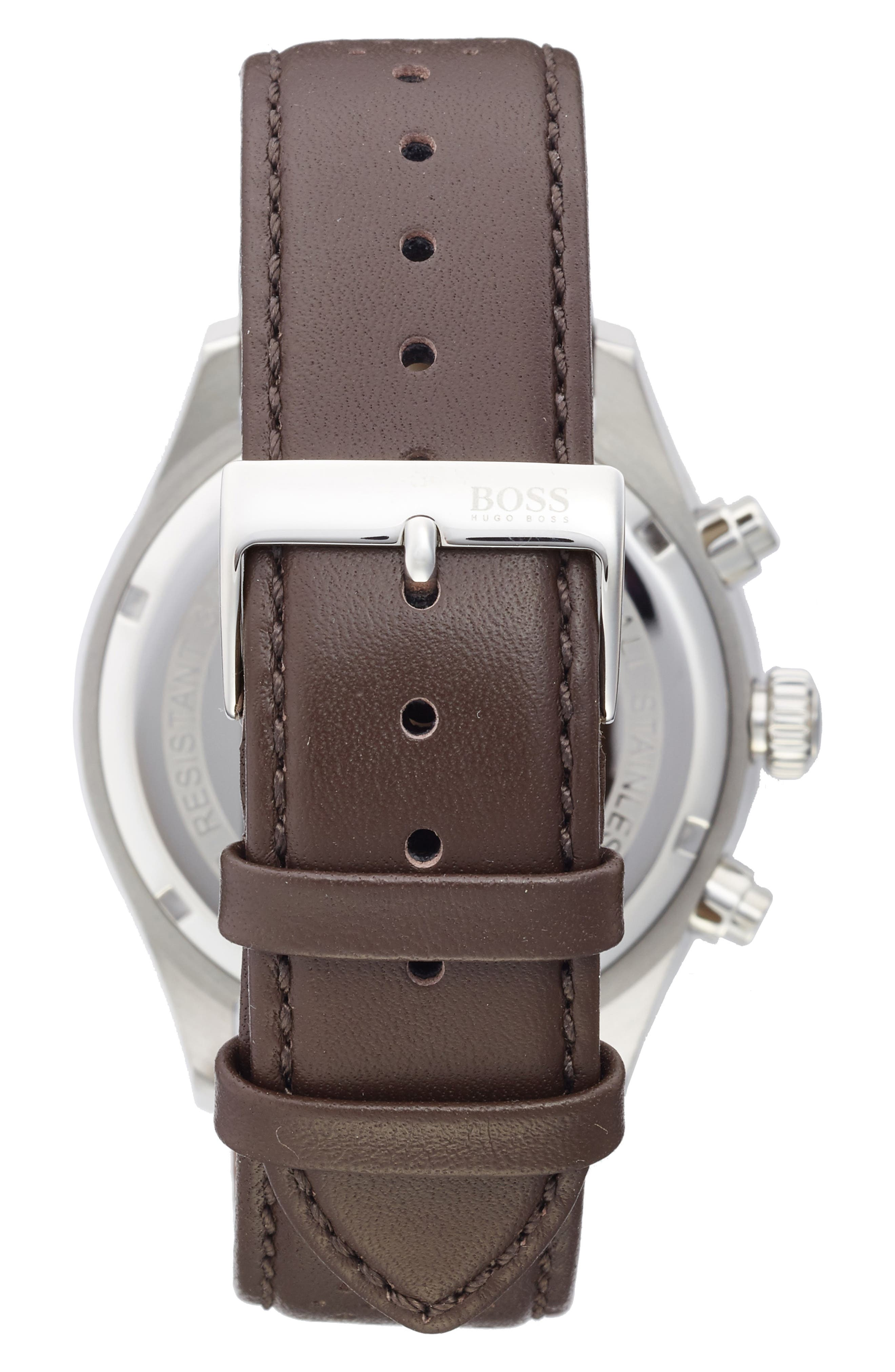 Grand Prix Leather Strap Chronograph Watch, 44mm,                             Alternate thumbnail 2, color,                             Grey/ Brown