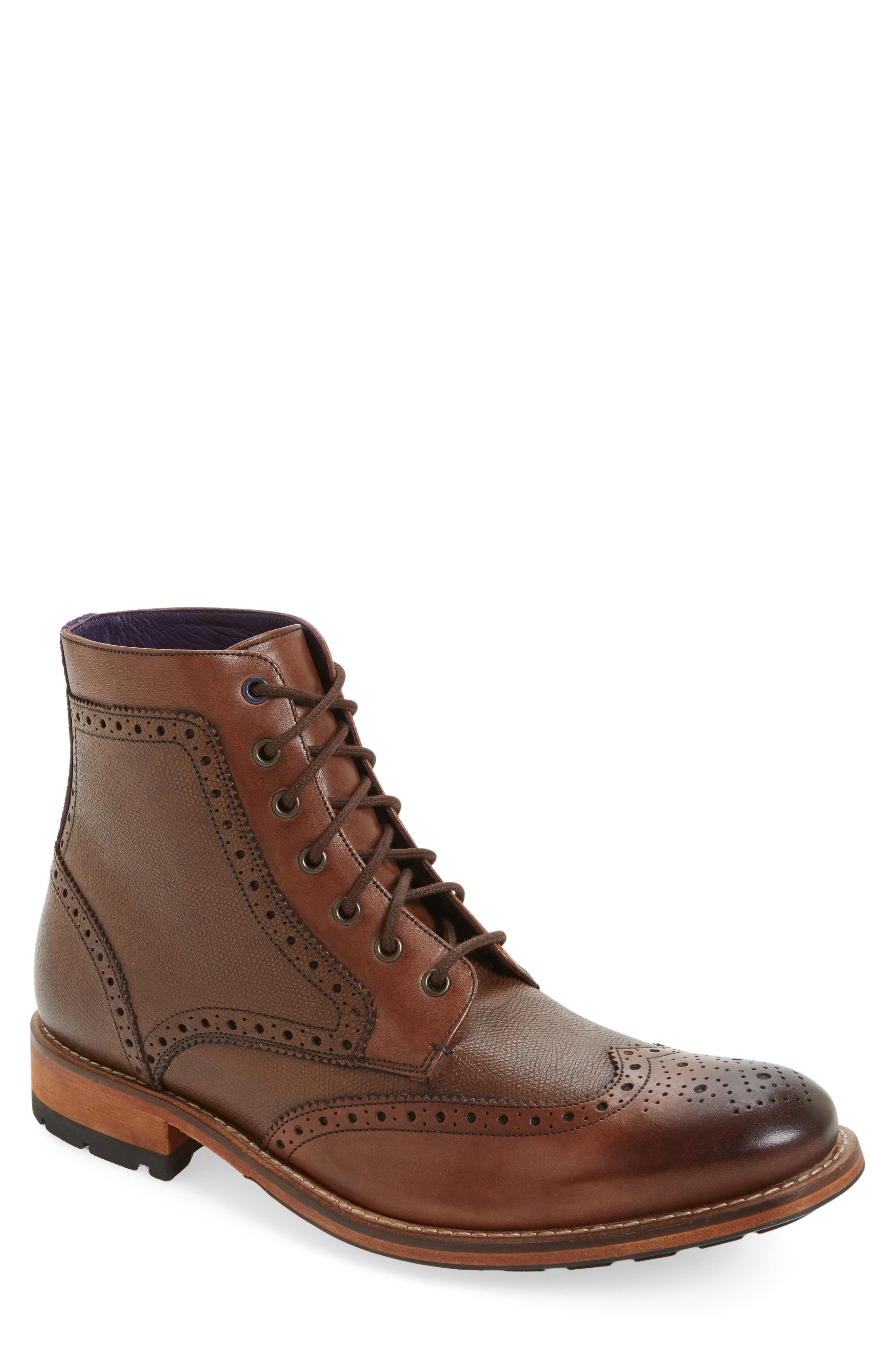 'Sealls 3' Wingtip Boot,                         Main,                         color, Brown Leather