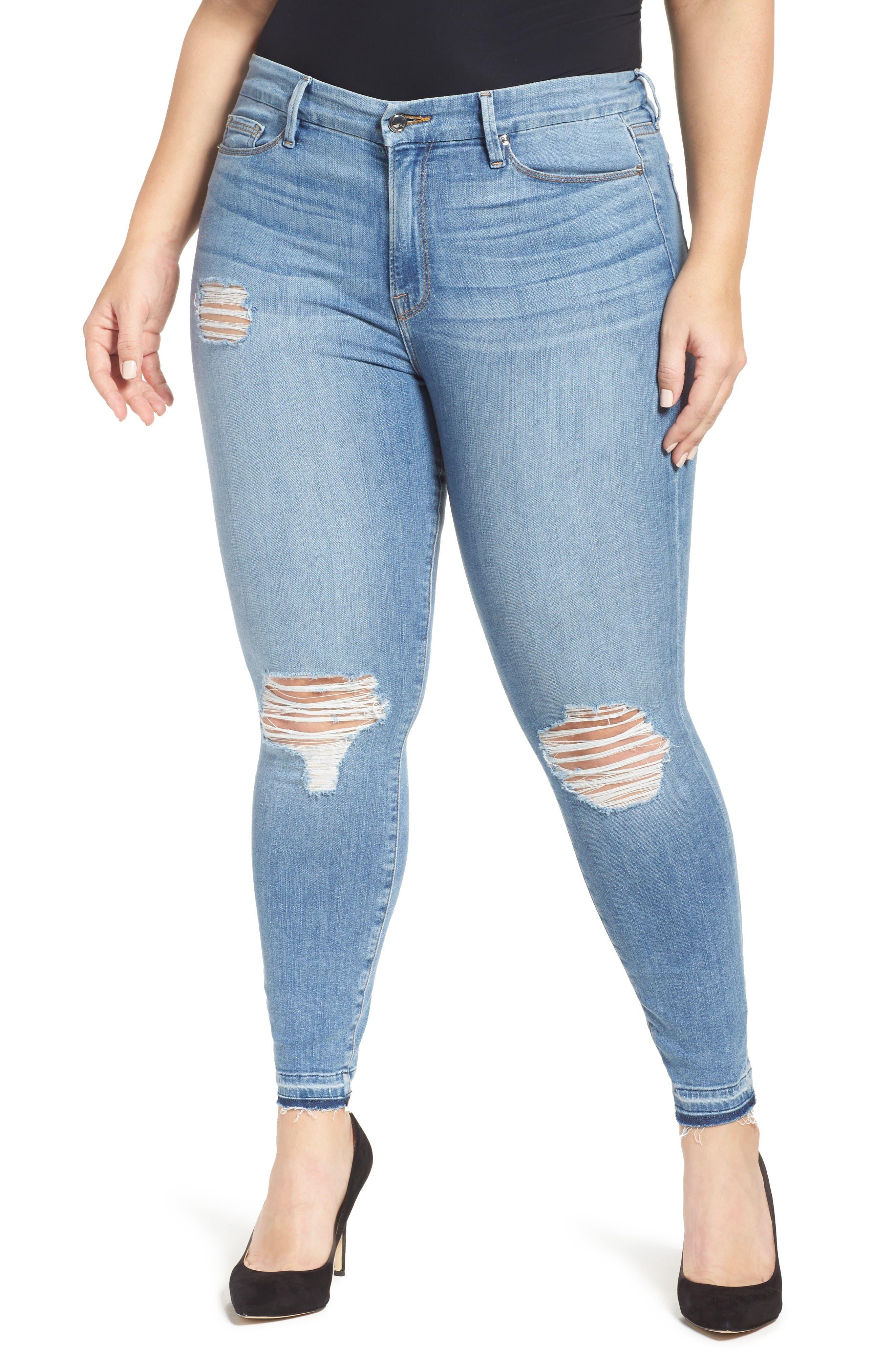 Good Legs Released Hem Skinny Jeans,                             Alternate thumbnail 7, color,                             Blue 023