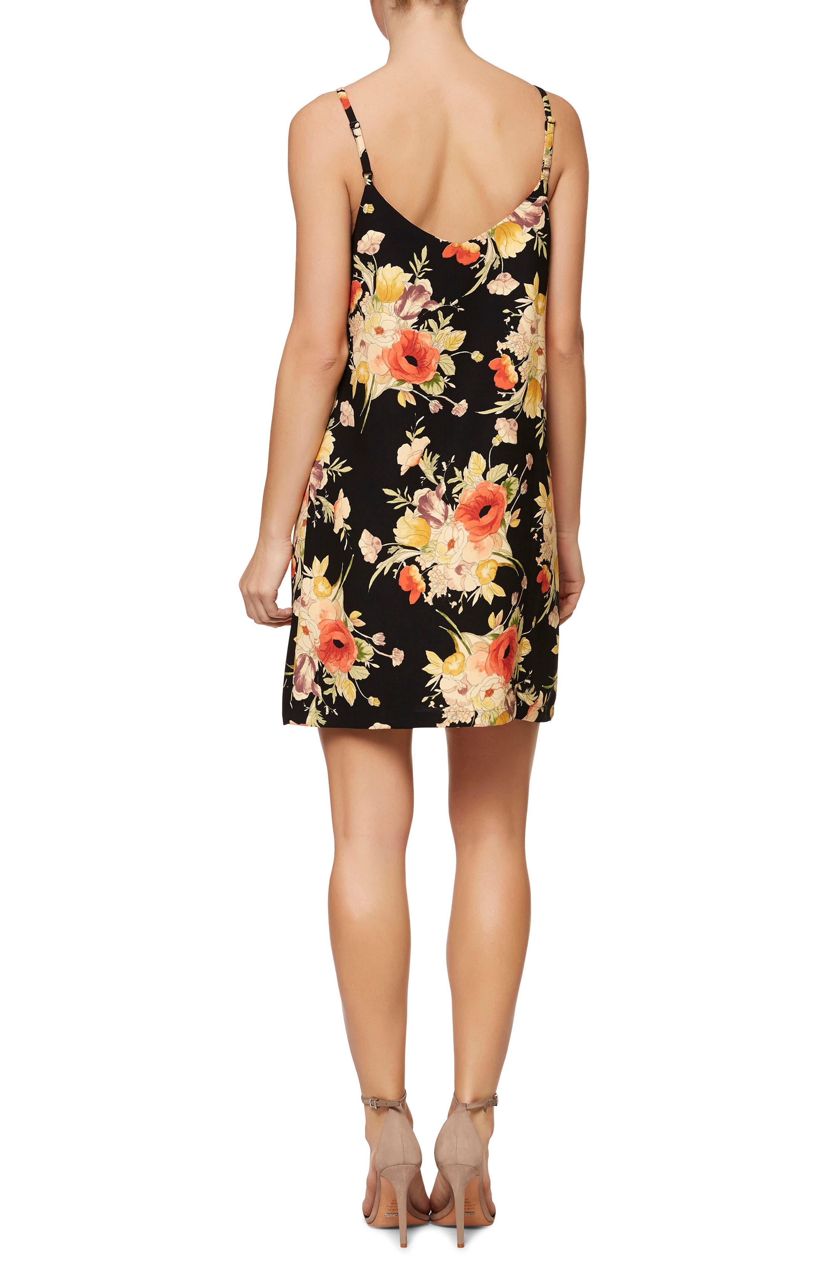 Floral Slip Dress,                             Alternate thumbnail 2, color,                             Dark Lily Pond