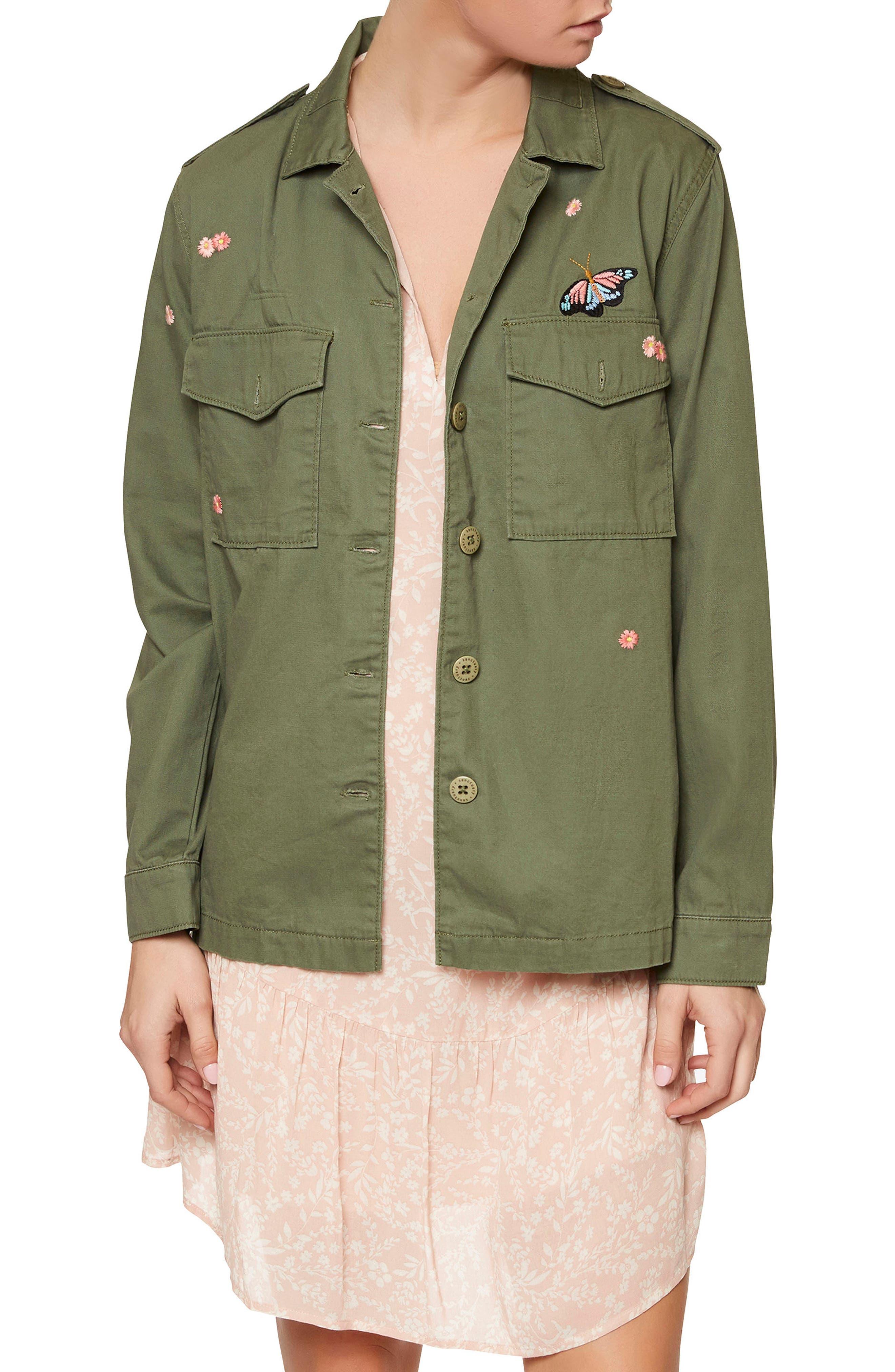 Flower Field Shirt Jacket,                         Main,                         color, Cadet