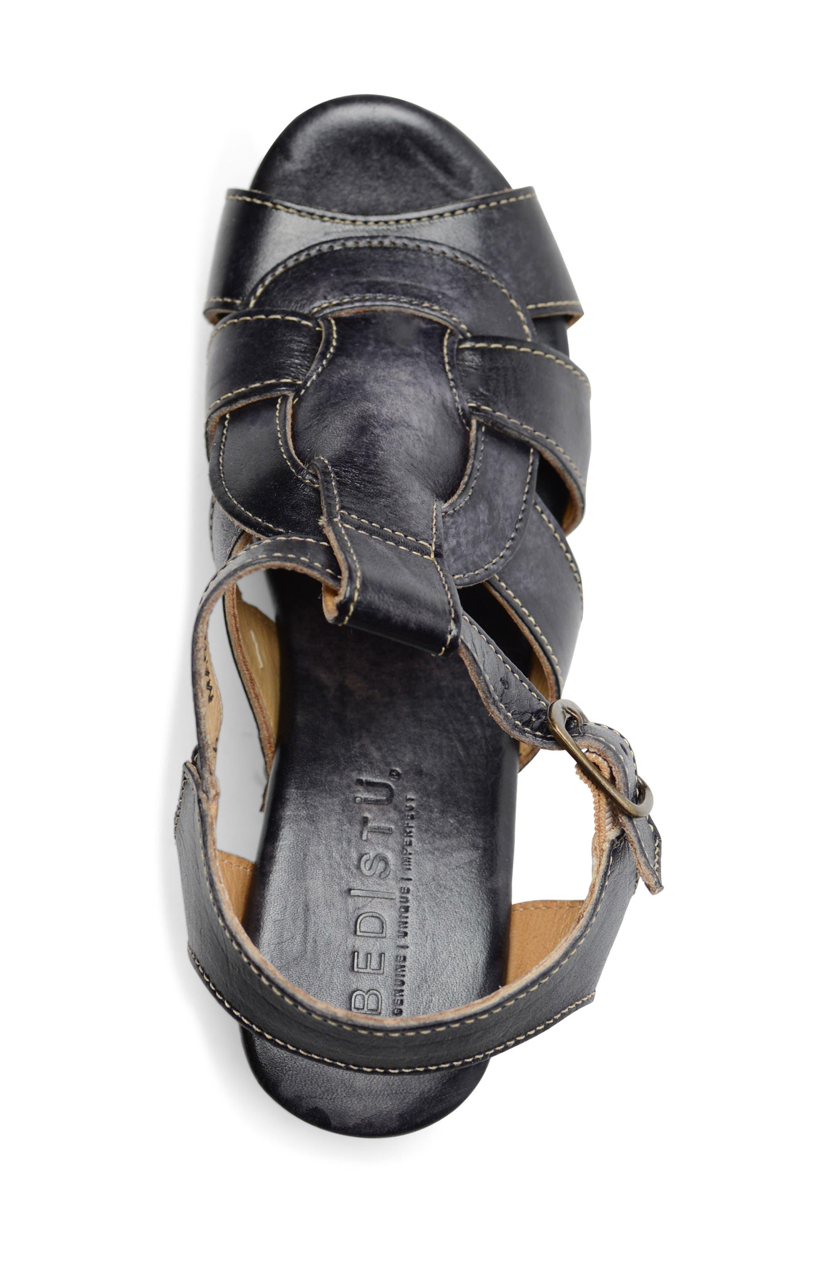 Caitlin Block Heel Sandal,                             Alternate thumbnail 3, color,                             Black Driftwood Leather
