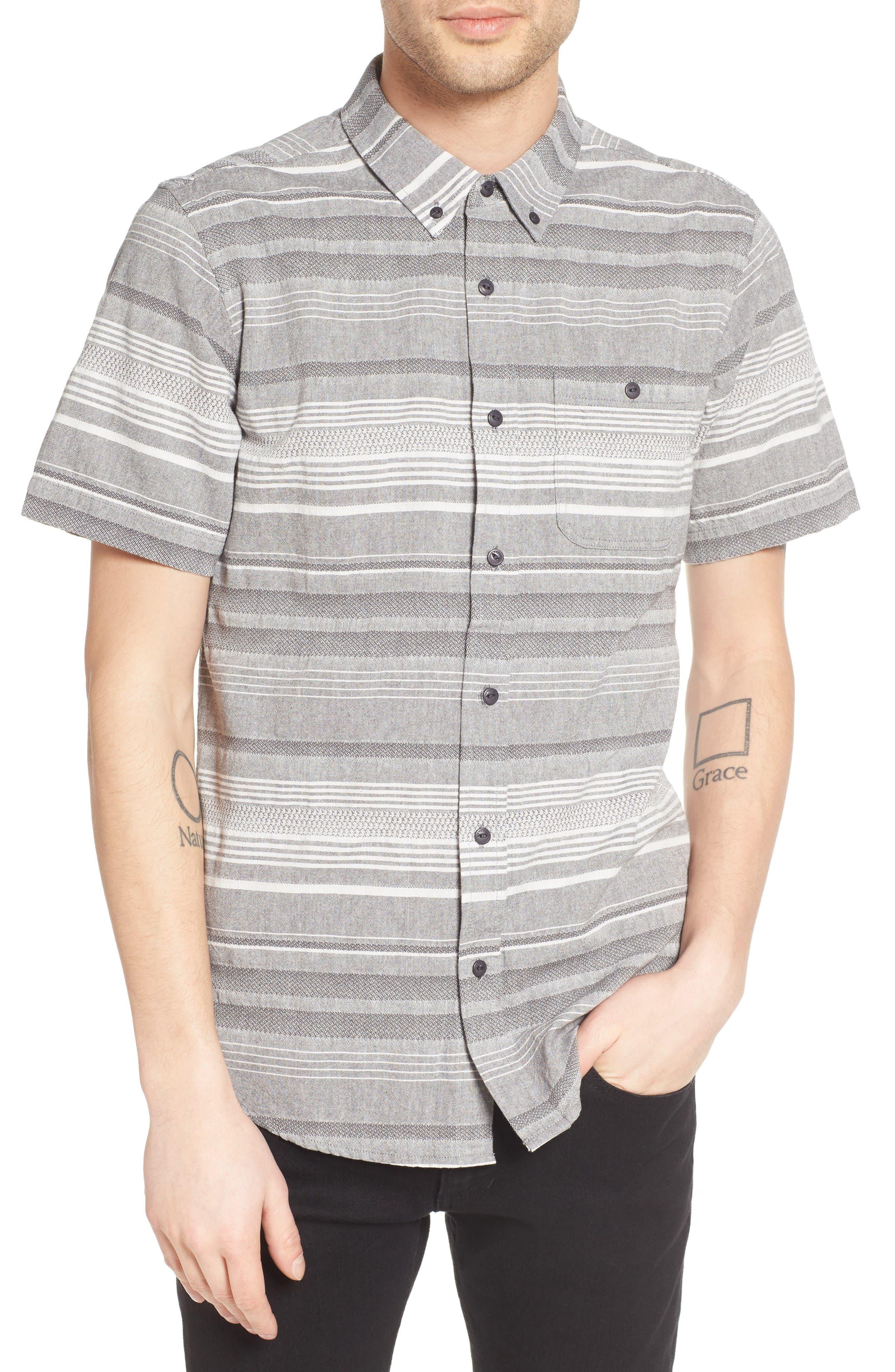 Striped Woven Shirt,                         Main,                         color, Grey