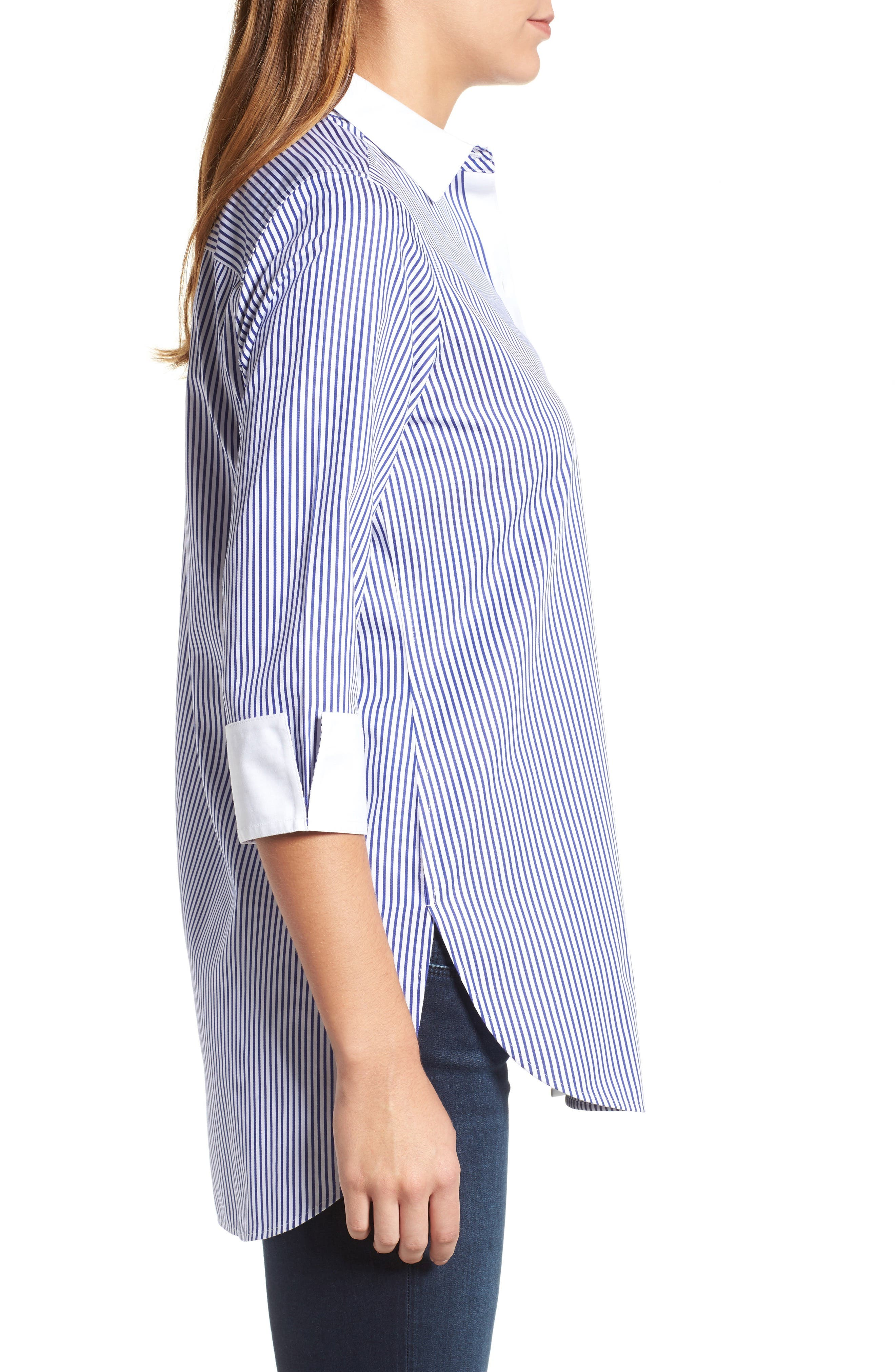 Mini Stripe Non-Iron Tunic Shirt,                             Alternate thumbnail 3, color,                             Blue Lagoon