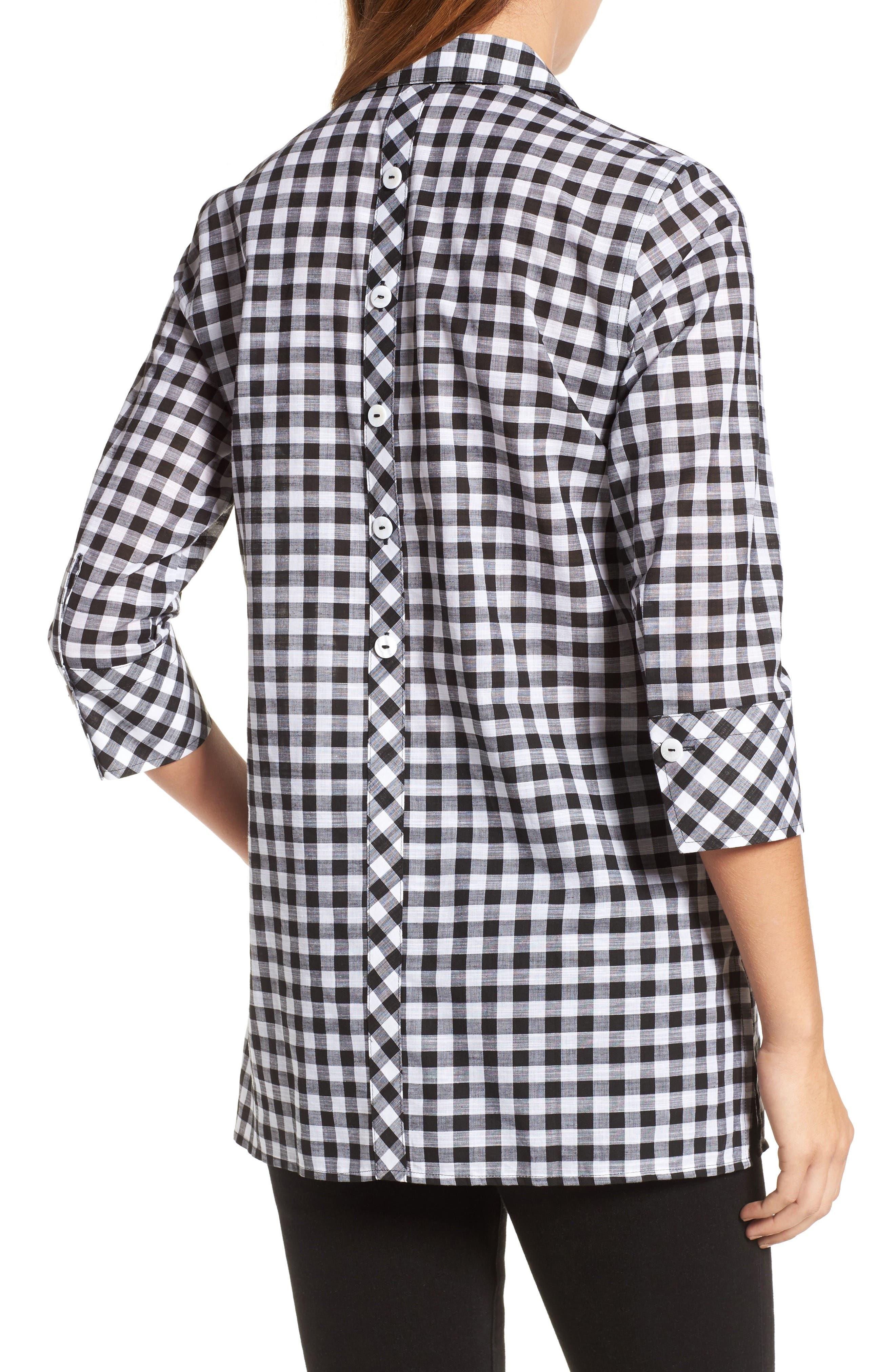 Gingham Cotton Tunic Shirt,                             Alternate thumbnail 2, color,                             Black