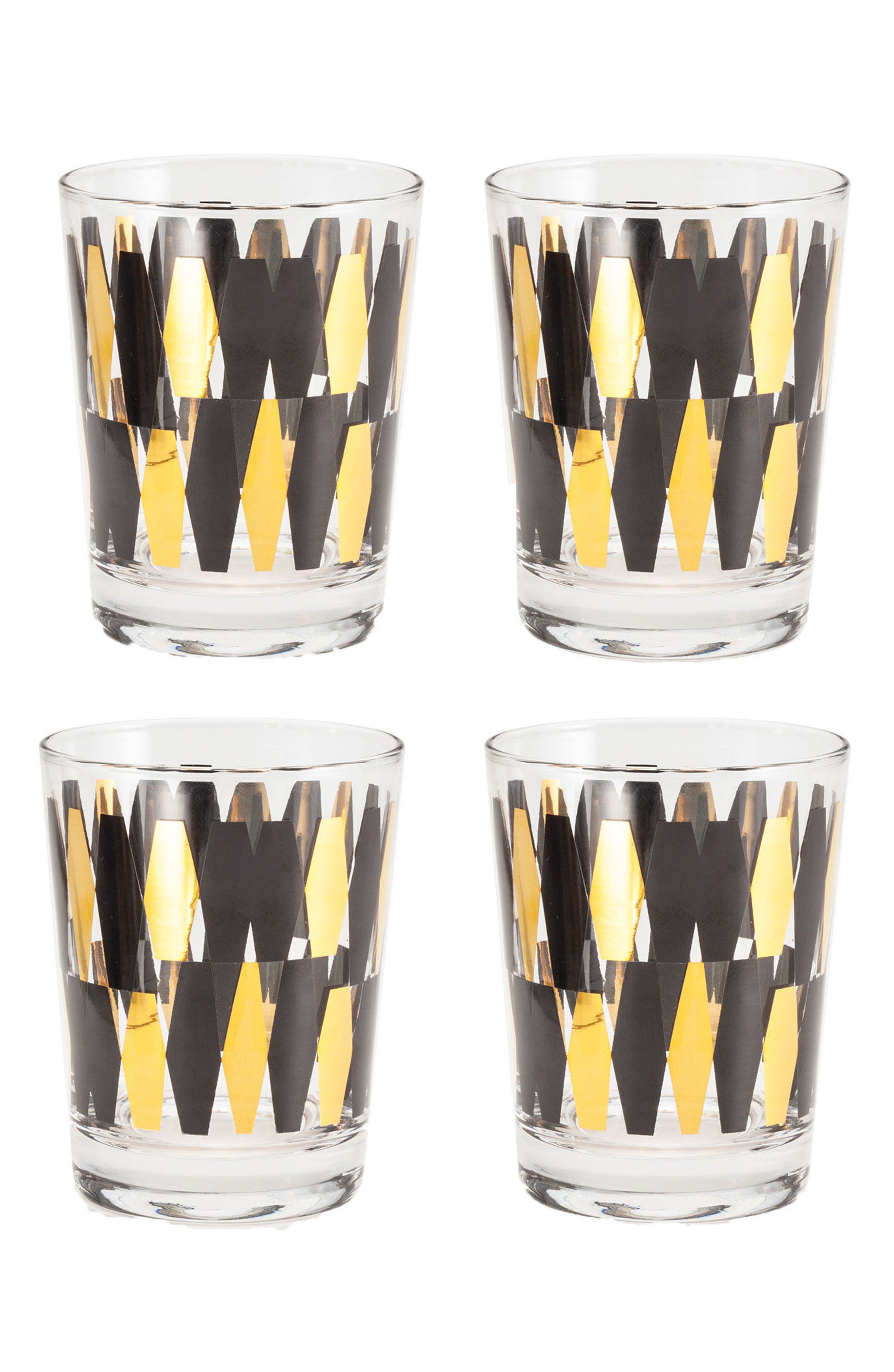 Monte Carlo Set of 4 Double Old Fashioned Glasses,                         Main,                         color, Black