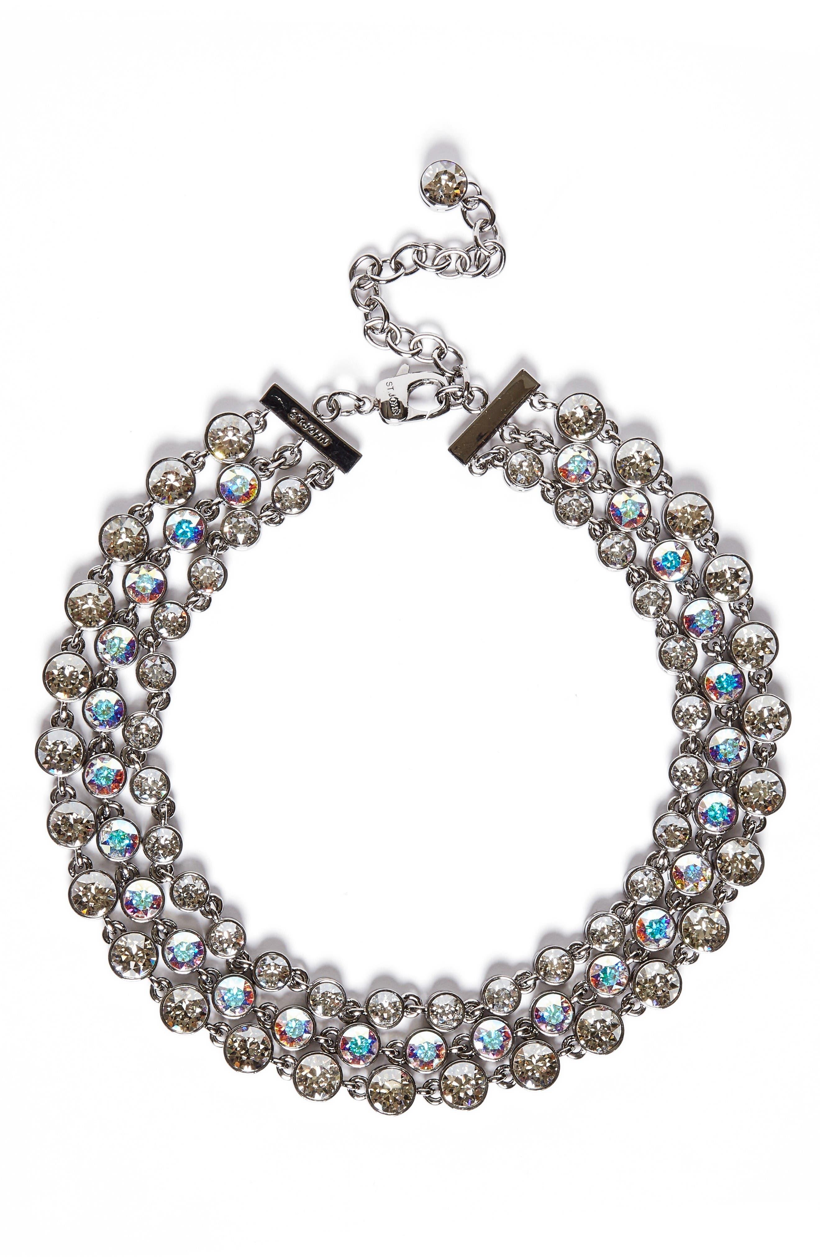 Swarovski Crystal Collar Necklace,                         Main,                         color, Ruthenium/ Crystal