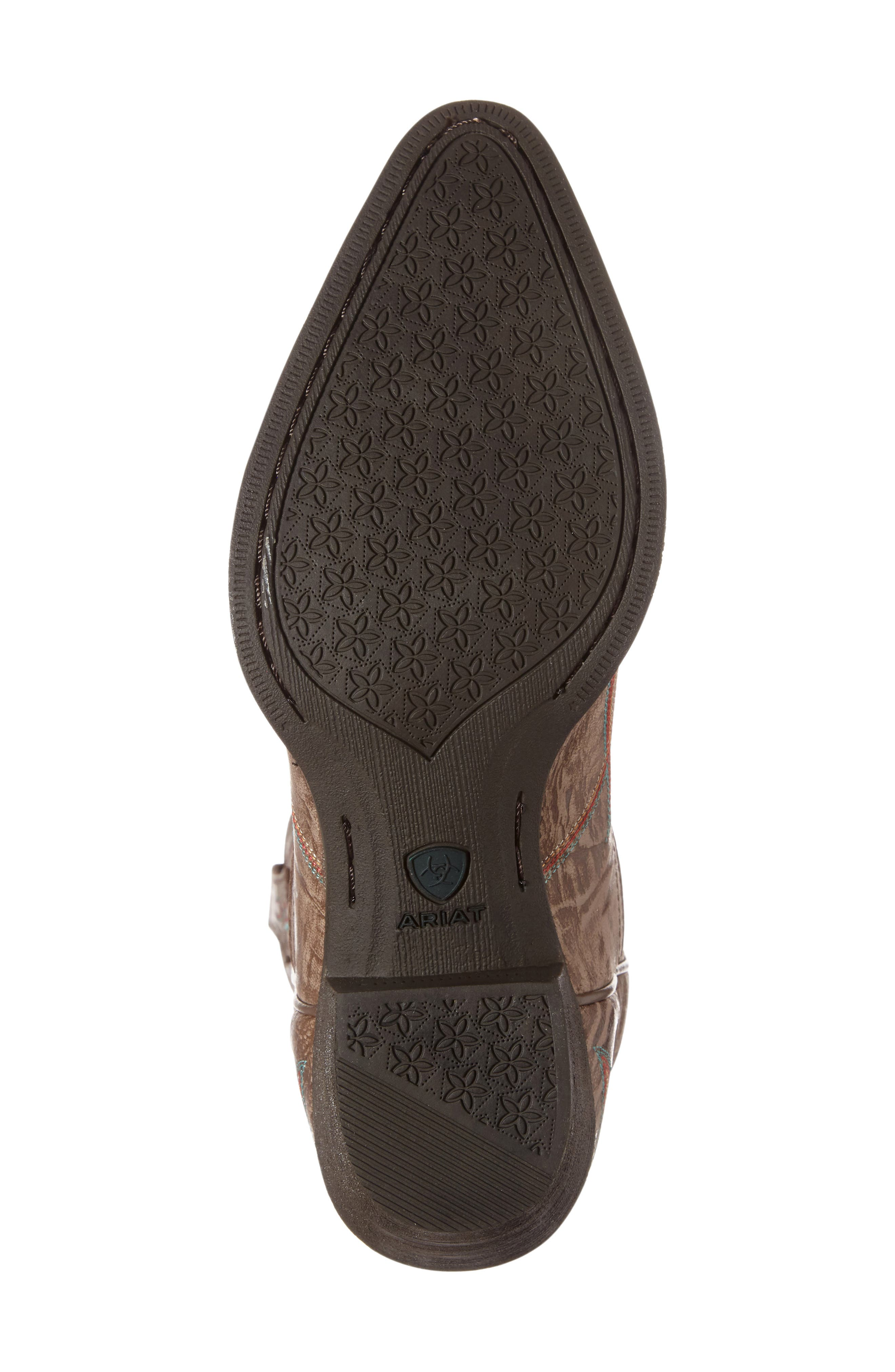 Round Up J-Toe Western Boot,                             Alternate thumbnail 4, color,                             Burnished Brown Leather