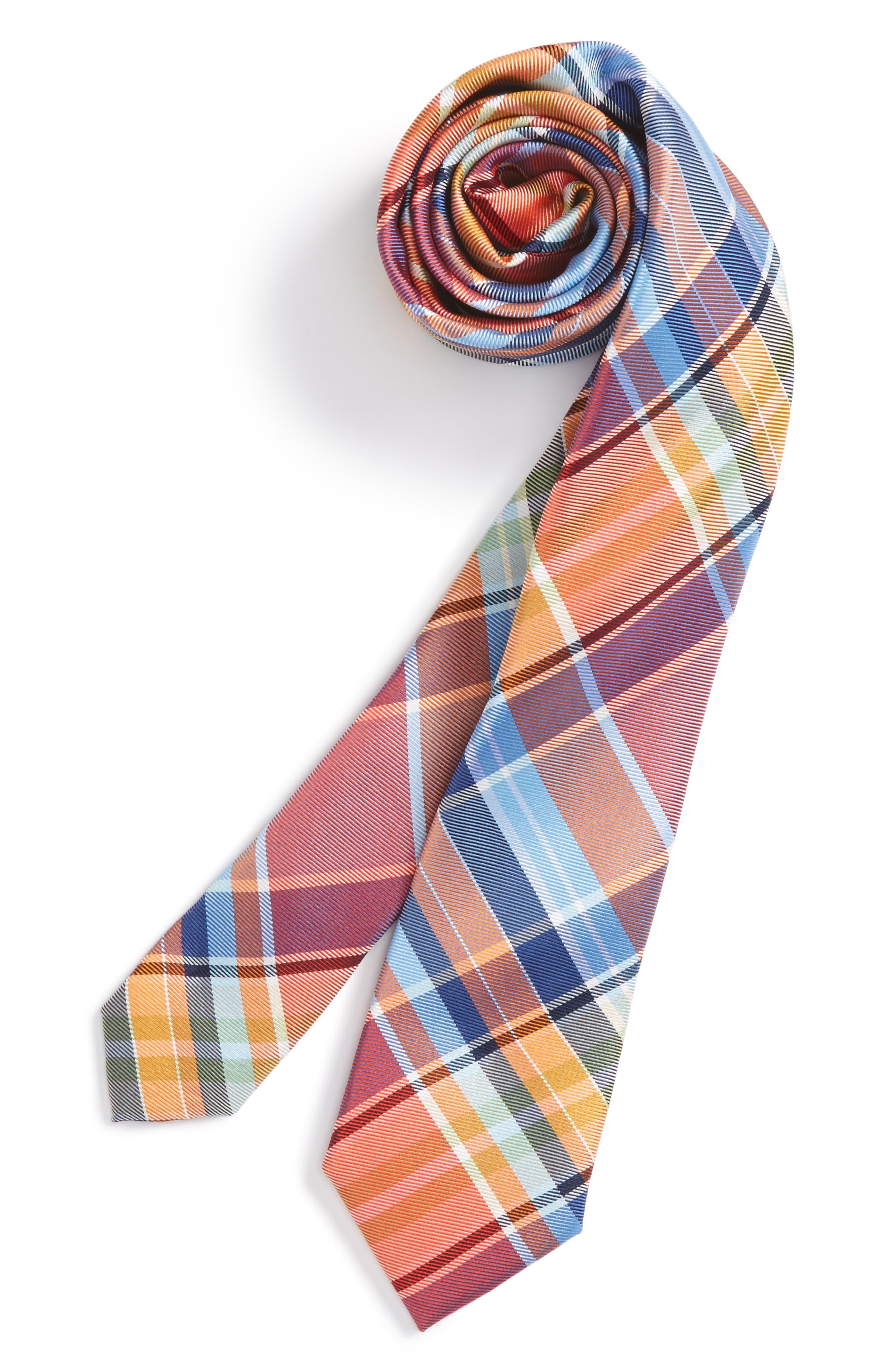 Plaid Silk Tie,                         Main,                         color, Orange Plaid