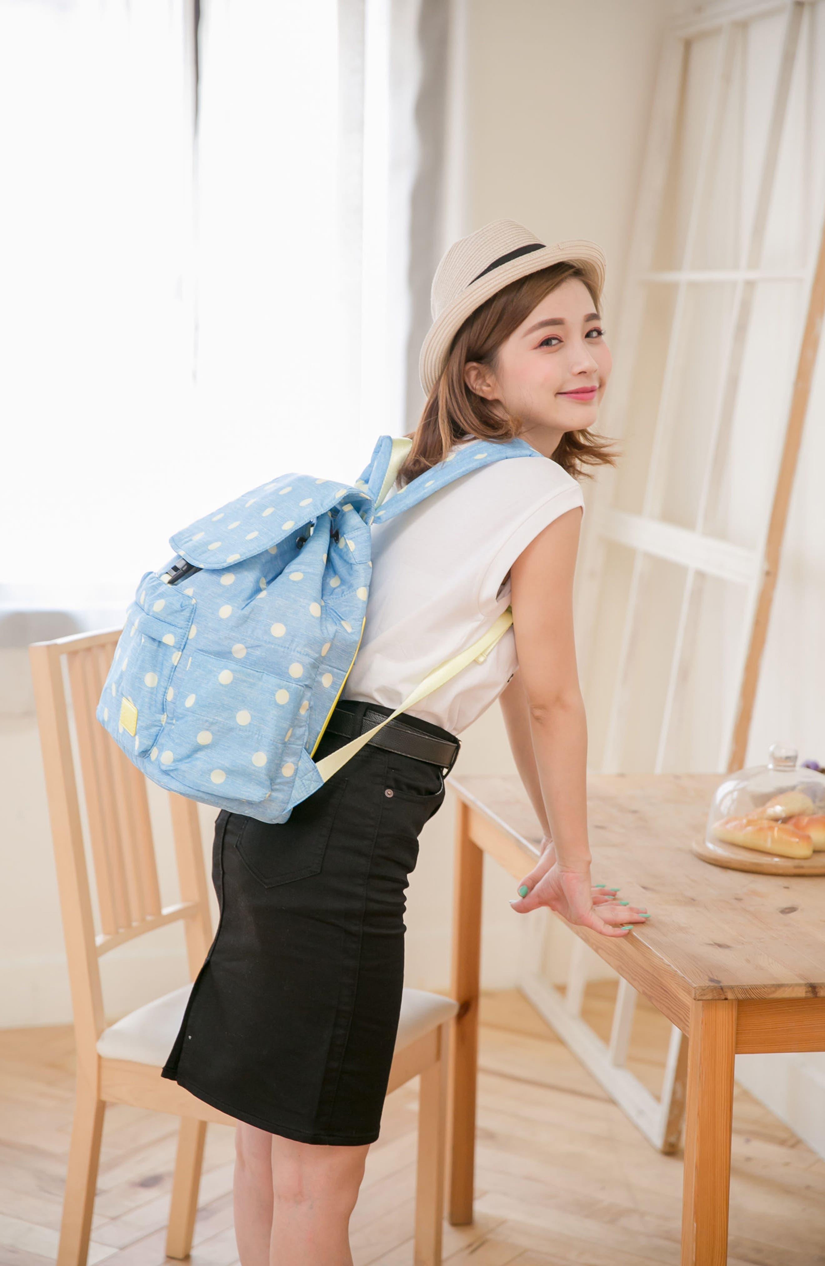 Print Water-Repellent Diaper Backpack,                             Alternate thumbnail 5, color,                             Denim Yellow Dot