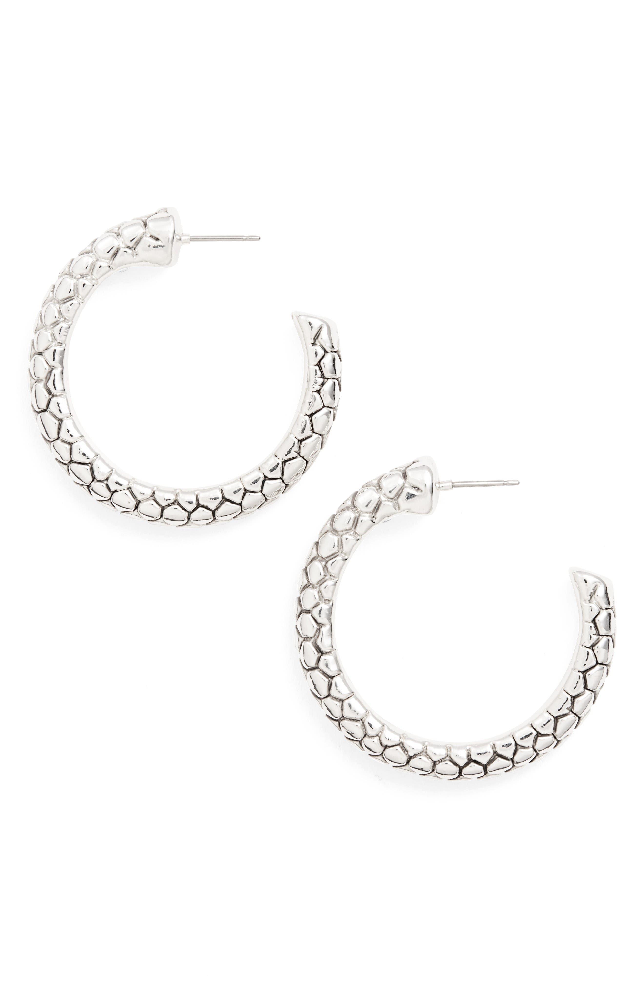 Pebble Textured Hoop Earrings,                         Main,                         color, Silver