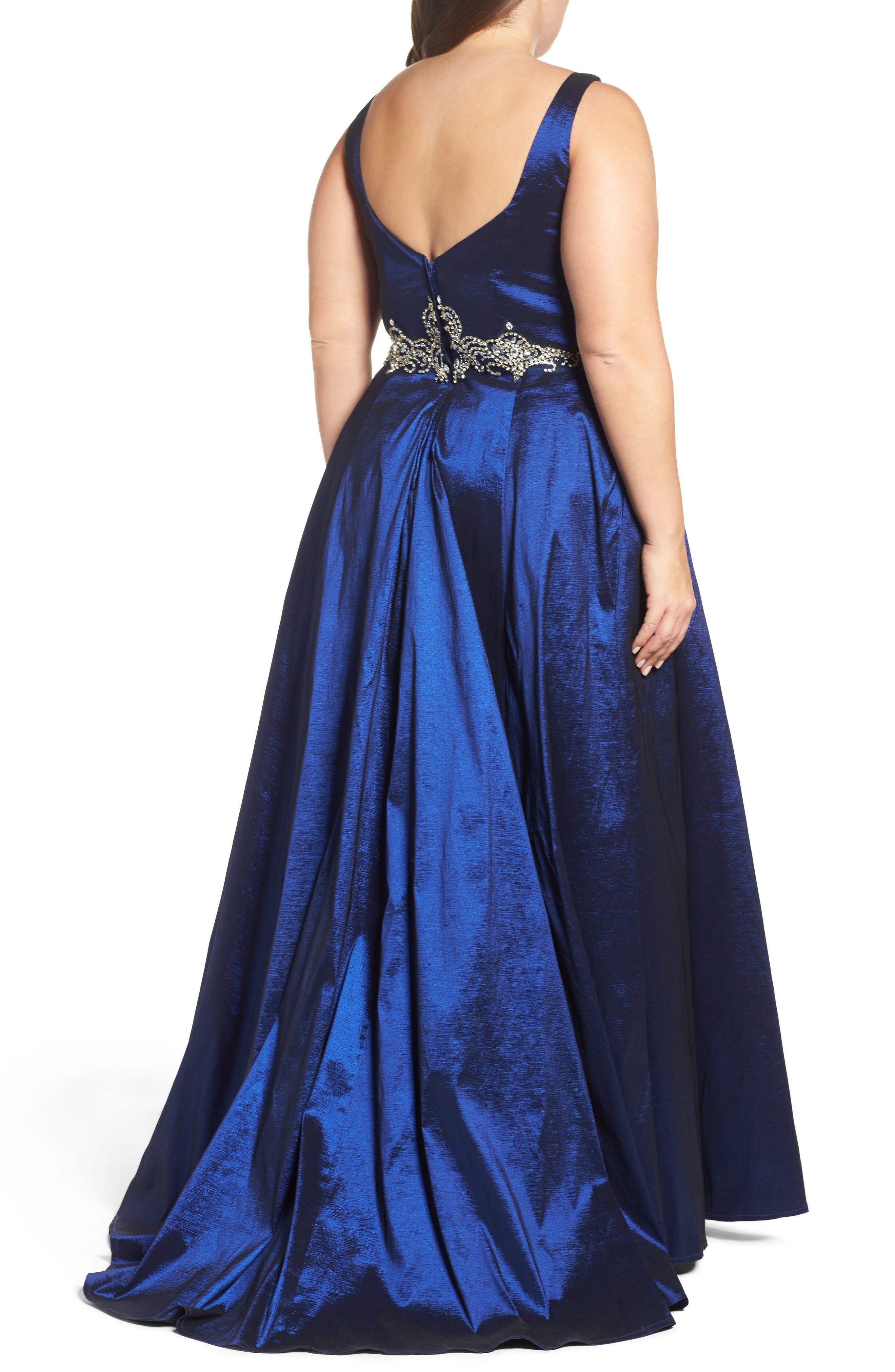 Embellished Waist Taffeta Ballgown,                             Alternate thumbnail 2, color,                             Sapphire