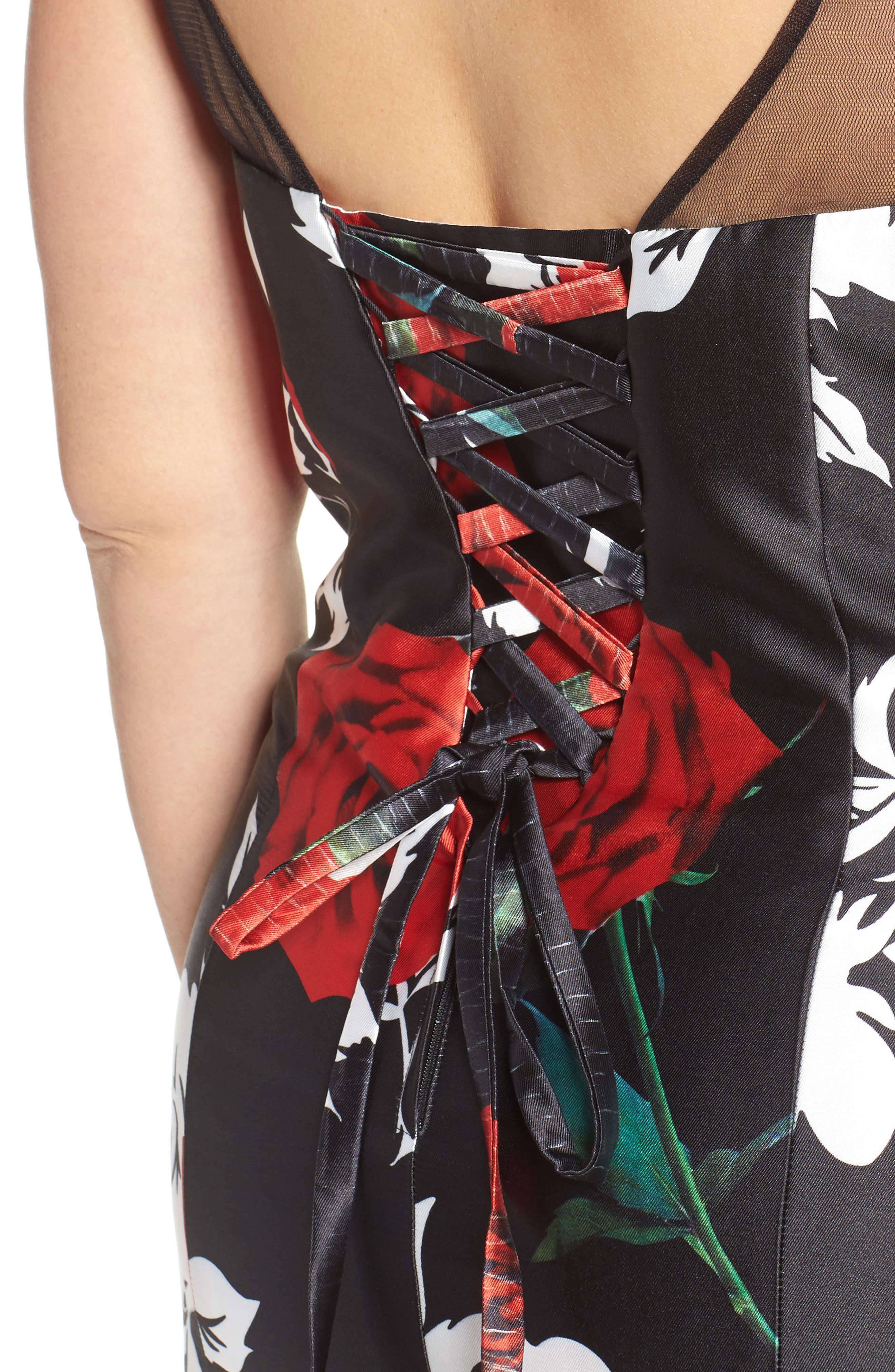 Alternate Image 4  - Mac Duggal Rose Print Mermaid Gown (Plus Size)