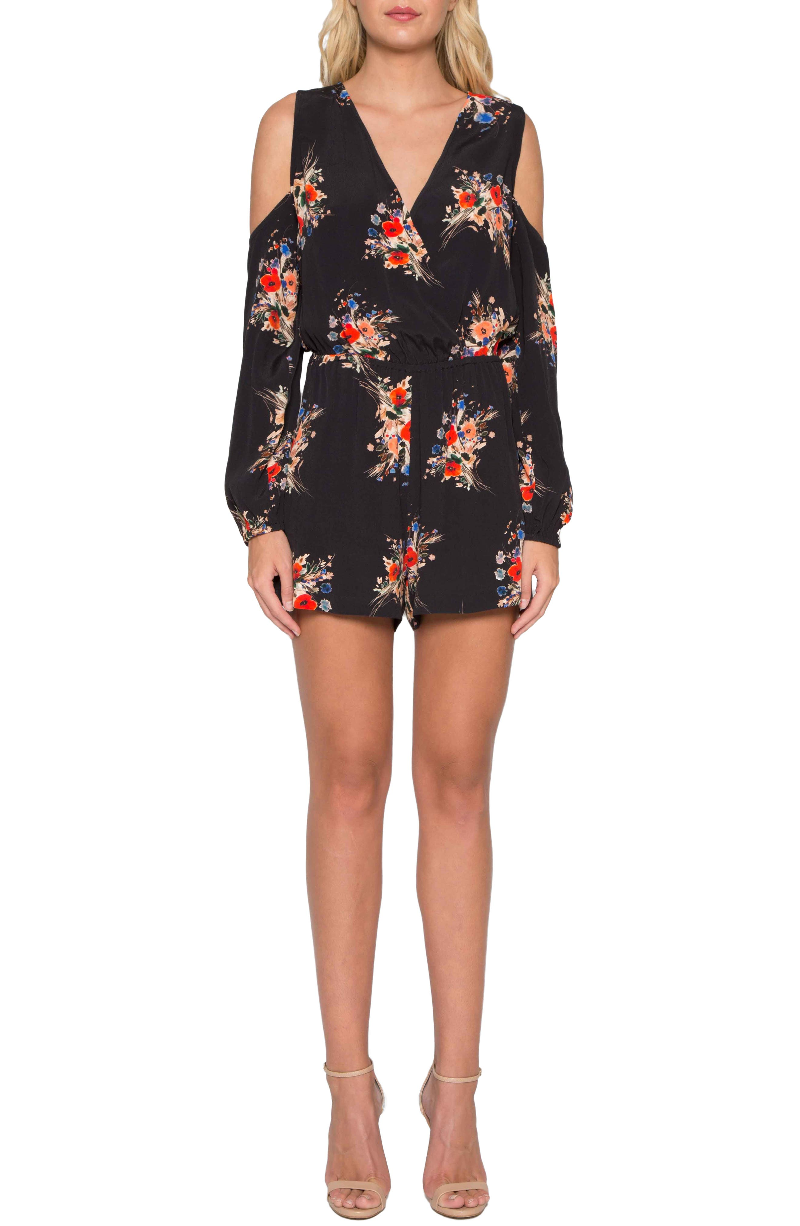 Alternate Image 1 Selected - Willow & Clay Floral Cold Shoulder Romper
