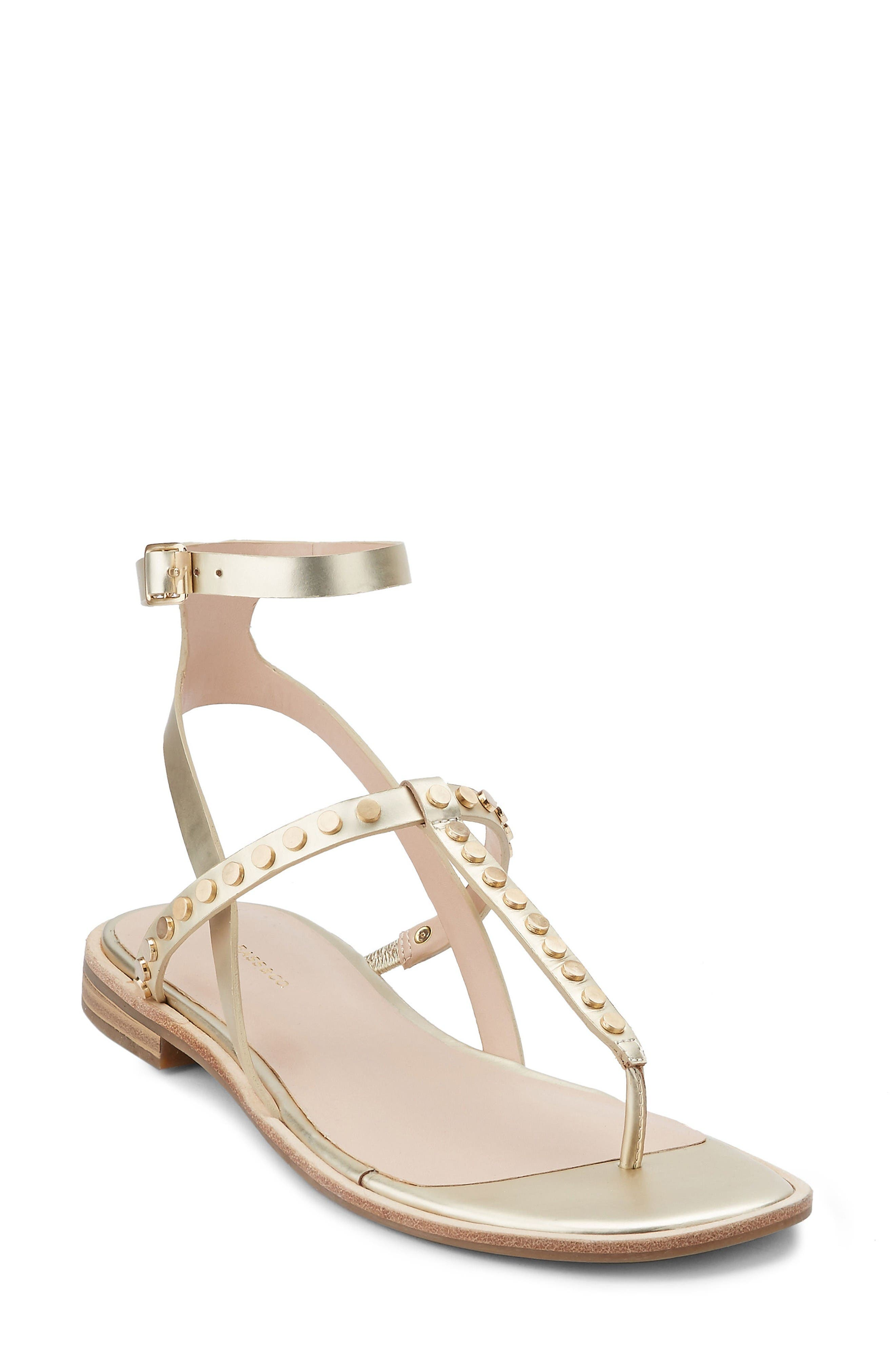 Michelle Sandal,                         Main,                         color, Gold Leather