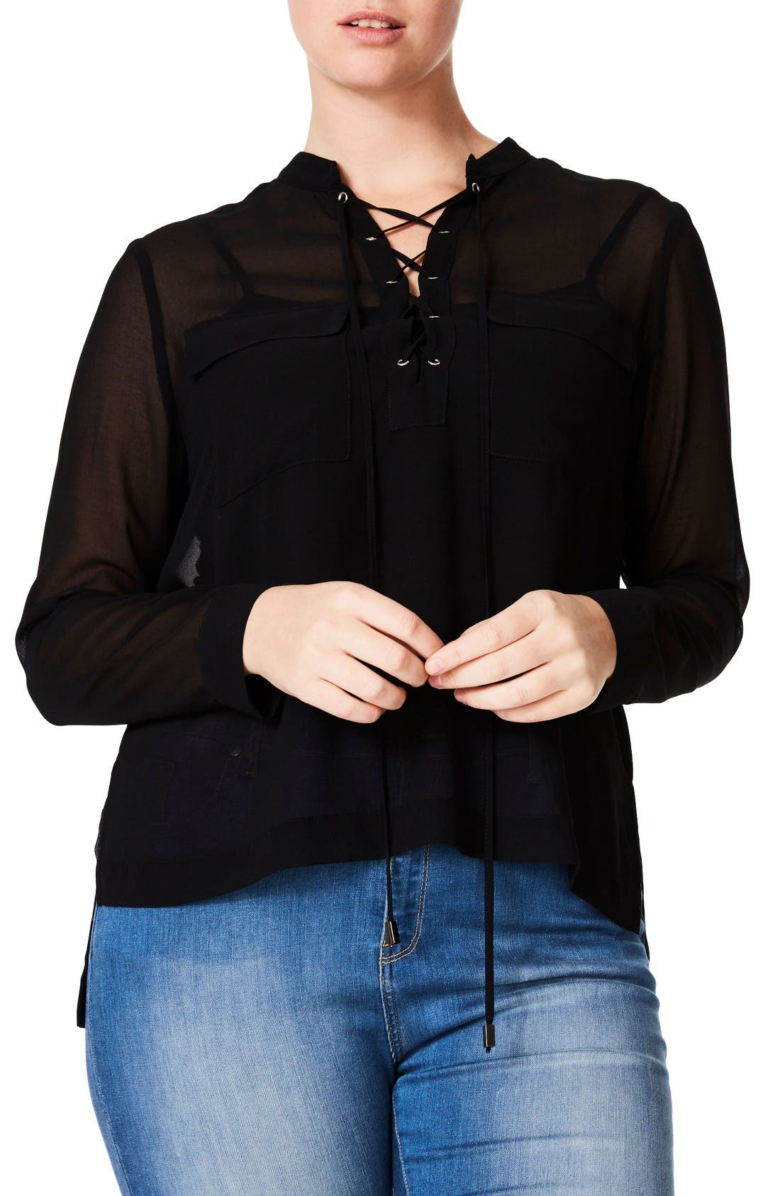 Alternate Image 1 Selected - ELVI Crisscross Lace-Up Blouse (Plus Size)