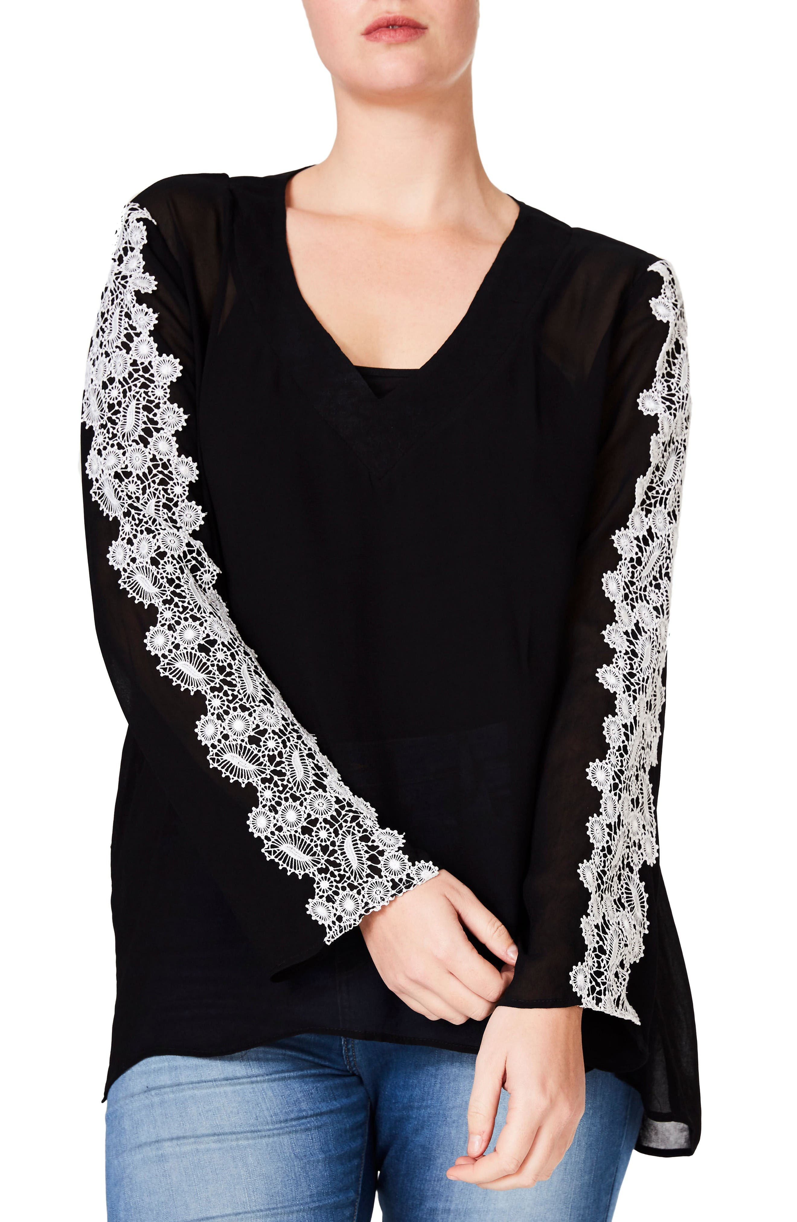 Embroidered Sleeve Blouse,                         Main,                         color, Black