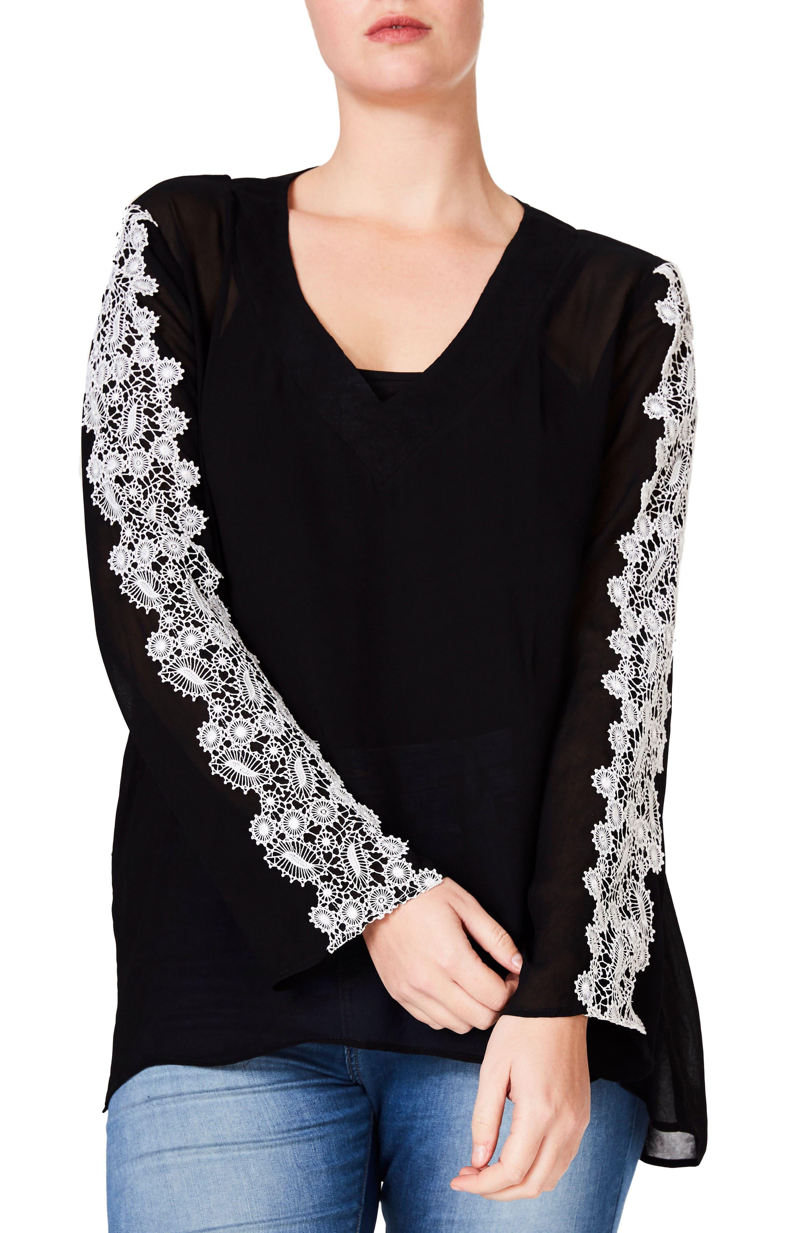 ELVI Embroidered Sleeve Blouse (Plus Size)