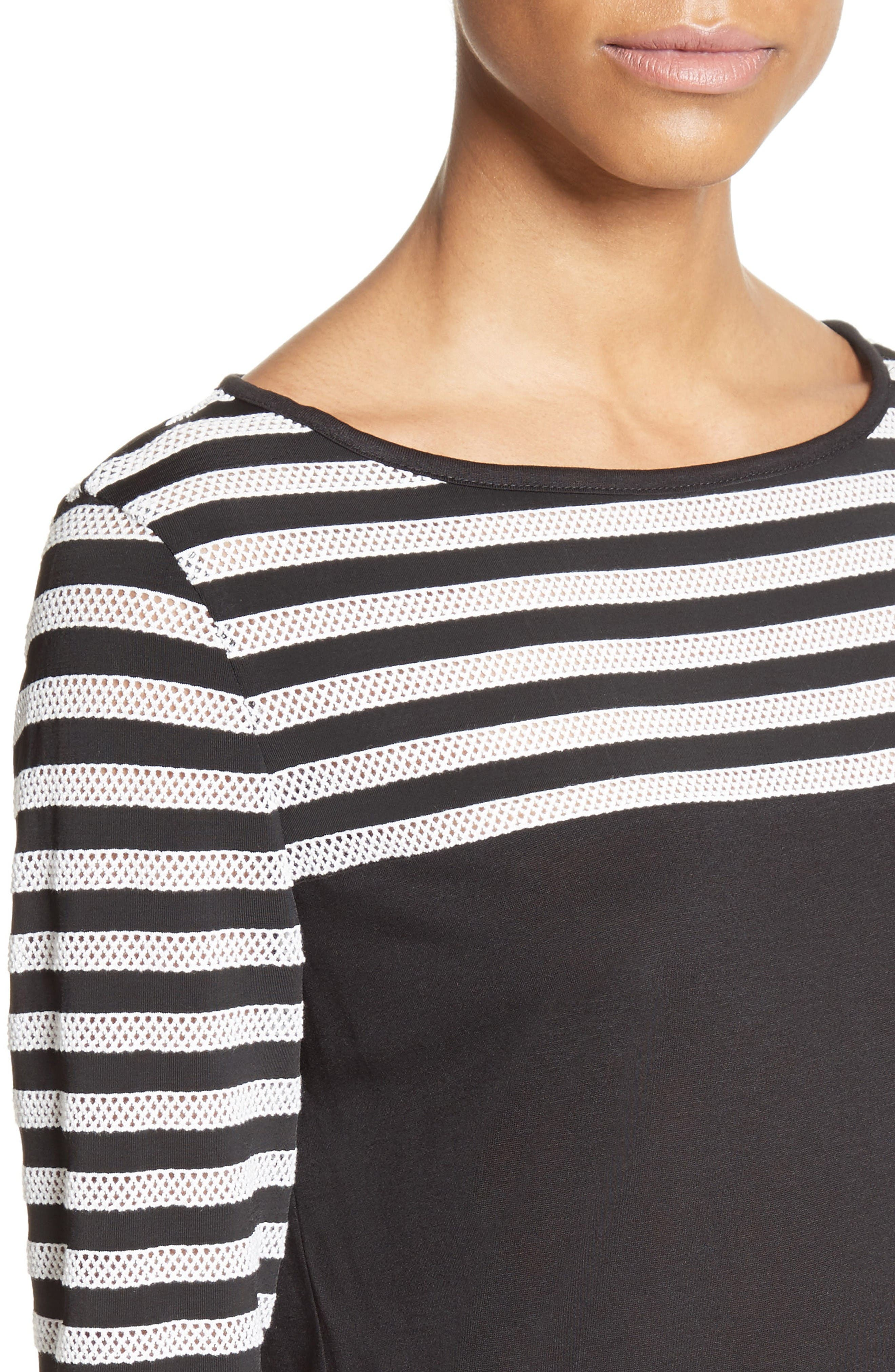 Alternate Image 4  - St. John Collection Stripe Mesh Inset Top