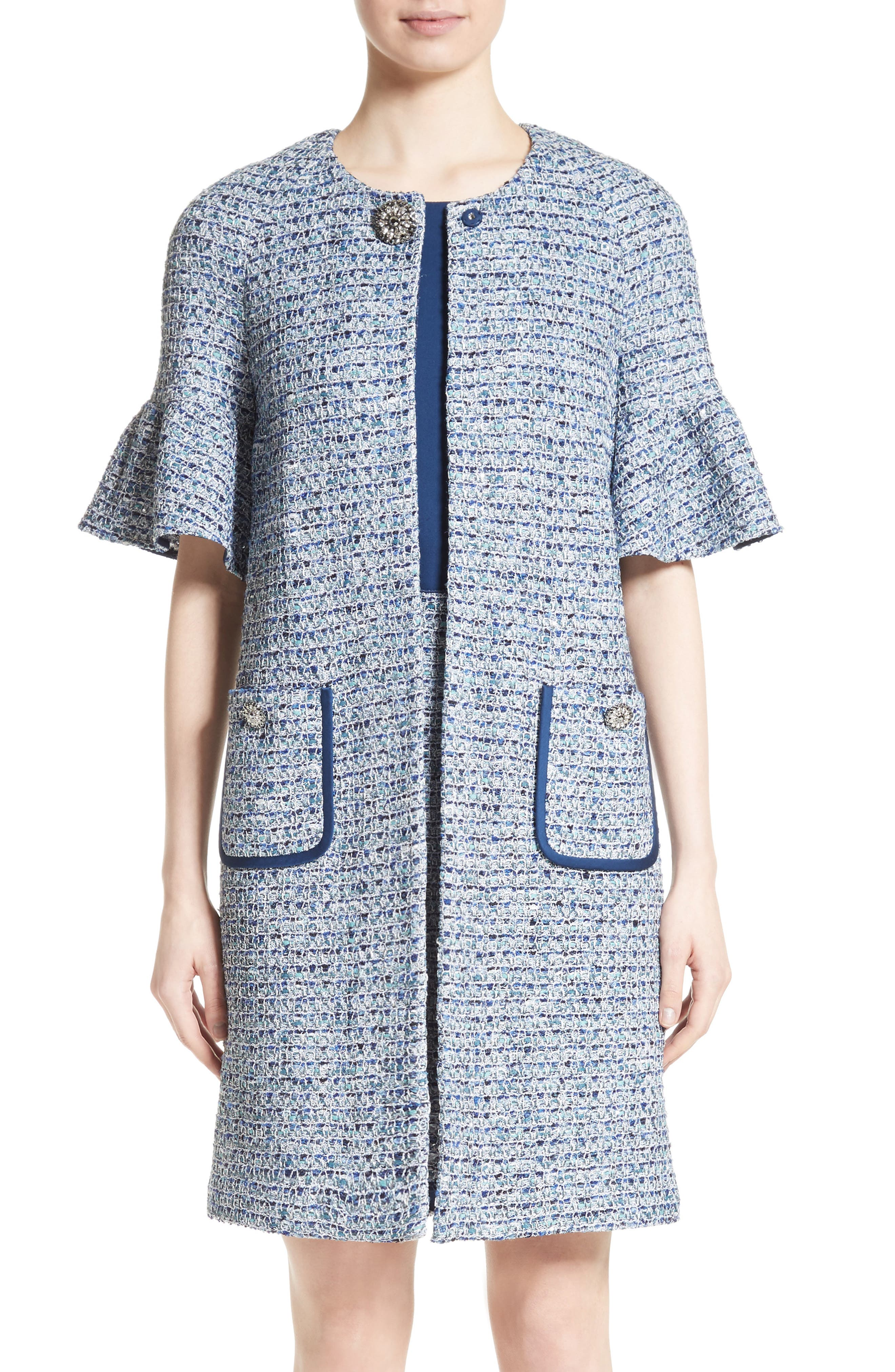 Kiara Tweed Bell Sleeve Jacket,                             Main thumbnail 1, color,                             Blue Multi