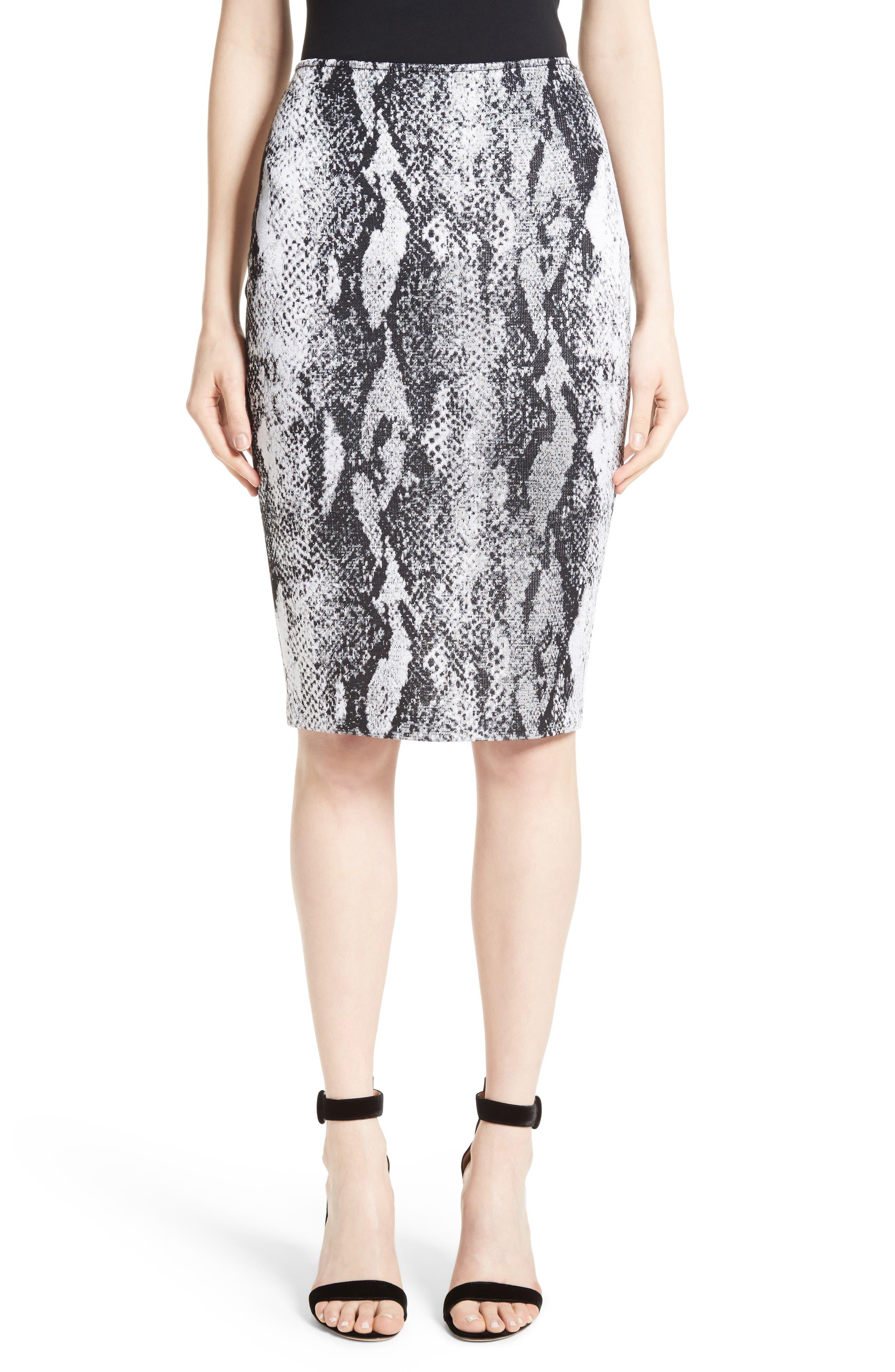St. John Collection Raja Snakeskin Knit Pencil Skirt