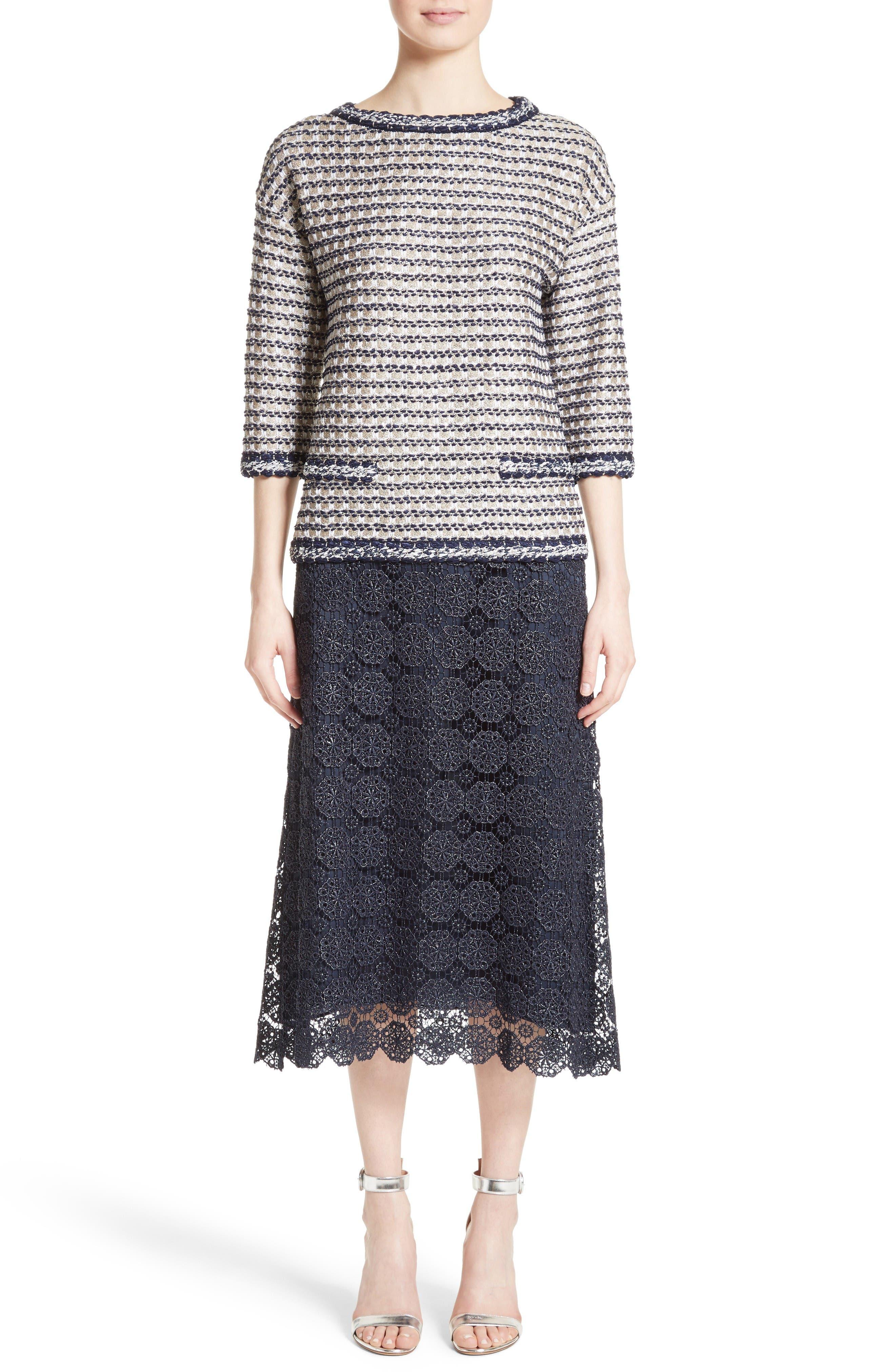 Alternate Image 7  - St. John Collection Metallic Guipure Lace Skirt
