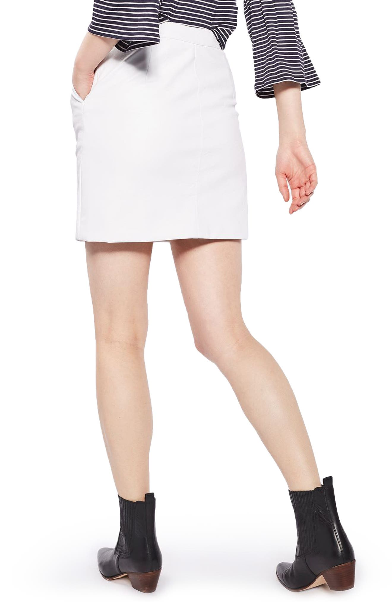 Faux Leather Pencil Skirt,                             Alternate thumbnail 3, color,                             White