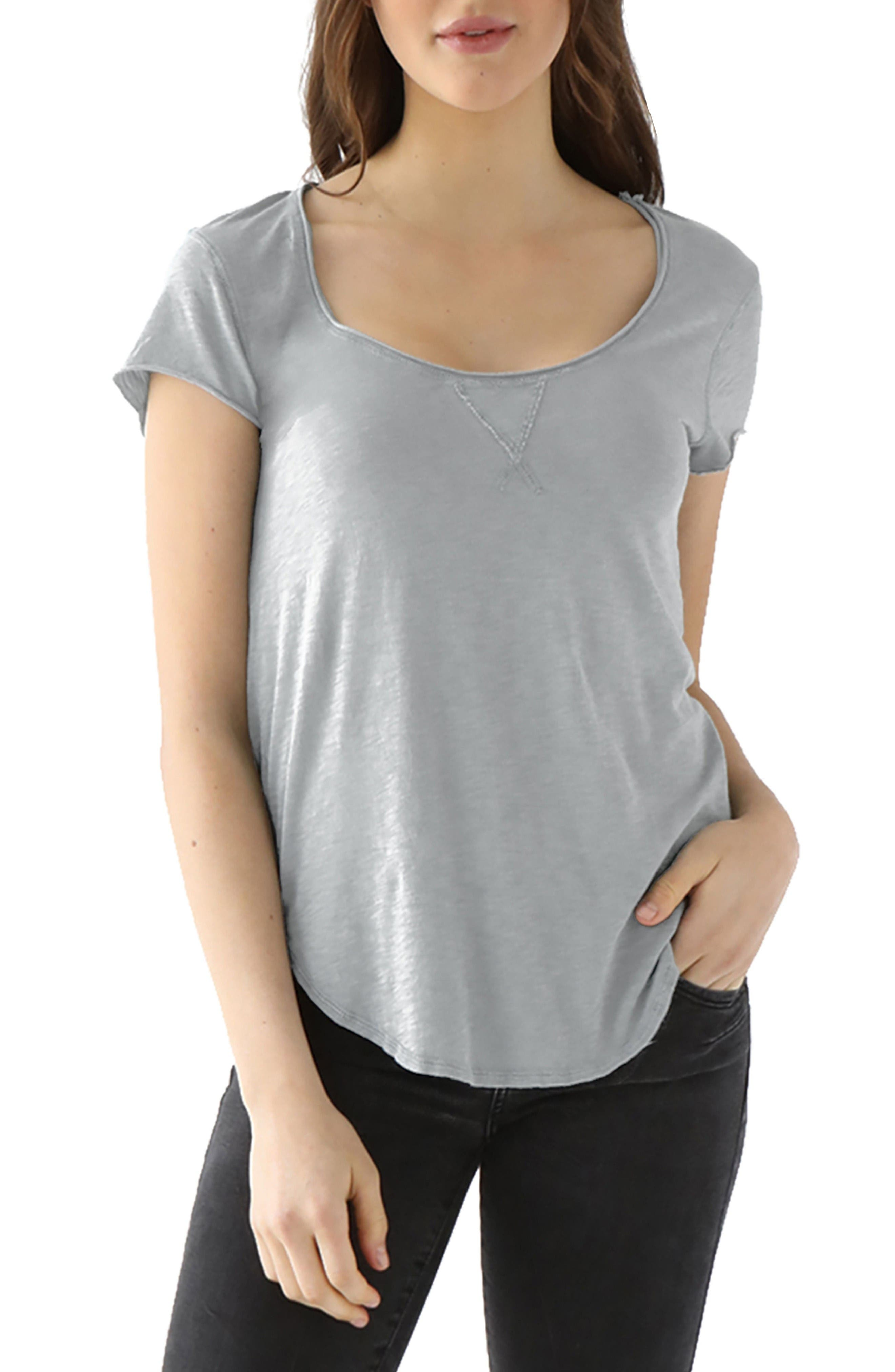 Nikki Slub Jersey Tee,                             Main thumbnail 1, color,                             Heather Grey