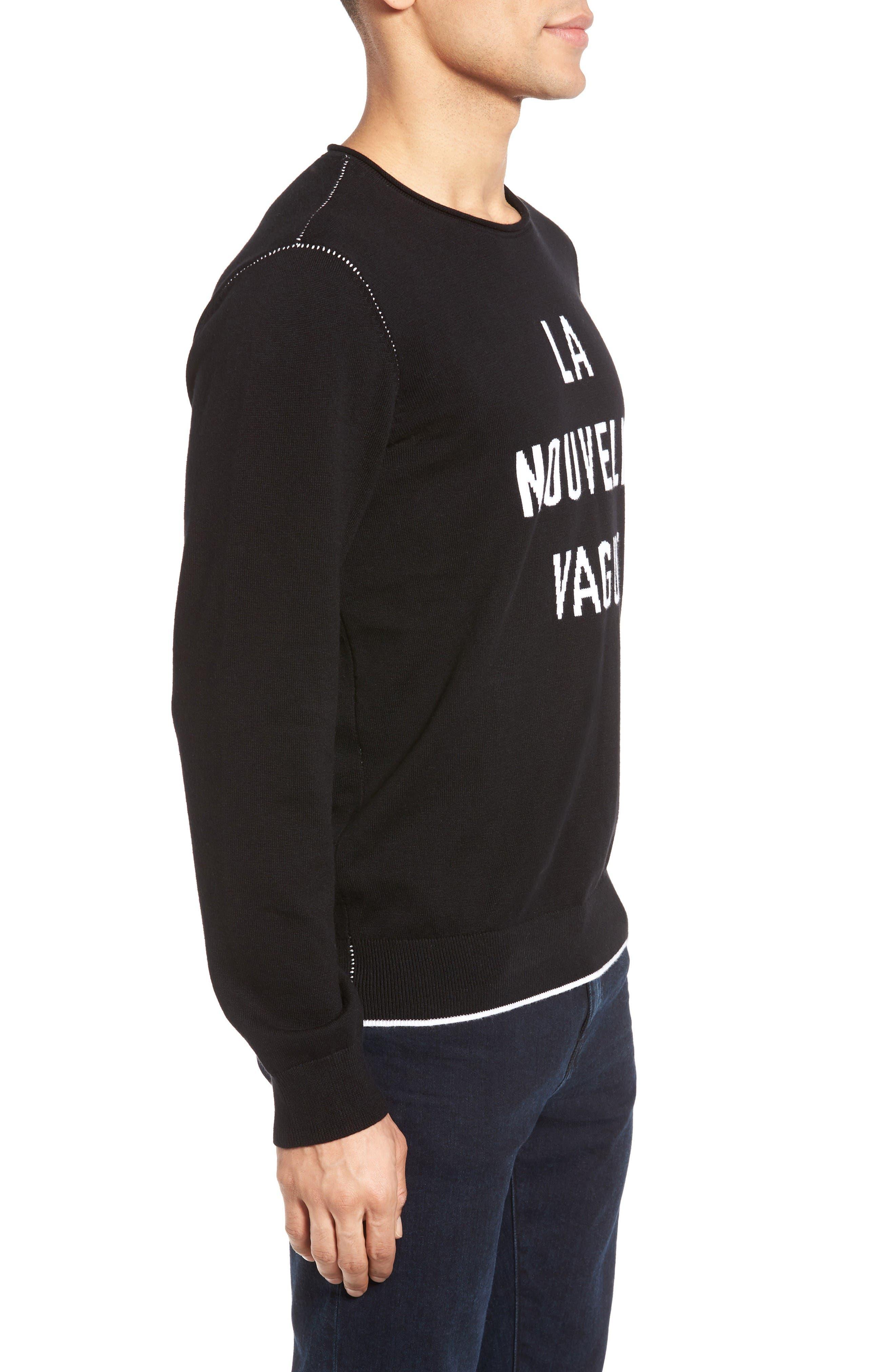 Cedric Cotton & Cashmere Sweater,                             Alternate thumbnail 3, color,                             La Nouvelle Vague True Black