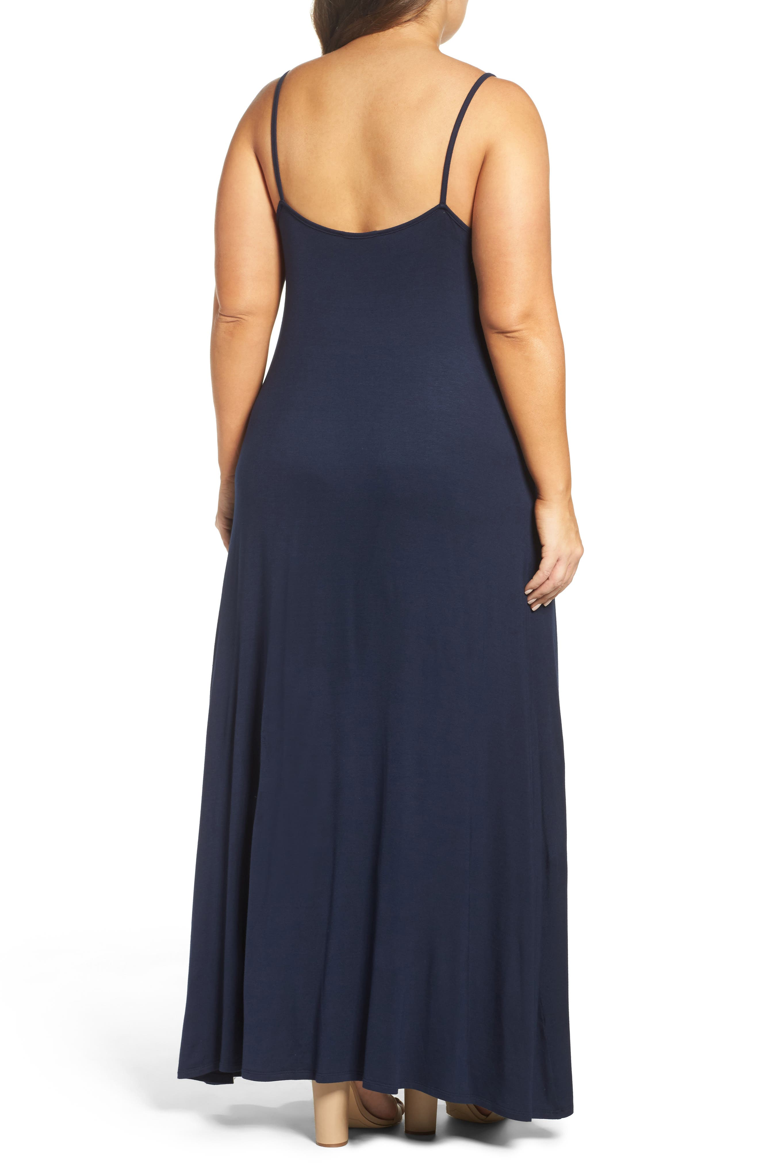 A-Line Maxi Dress,                             Alternate thumbnail 3, color,                             Midnight