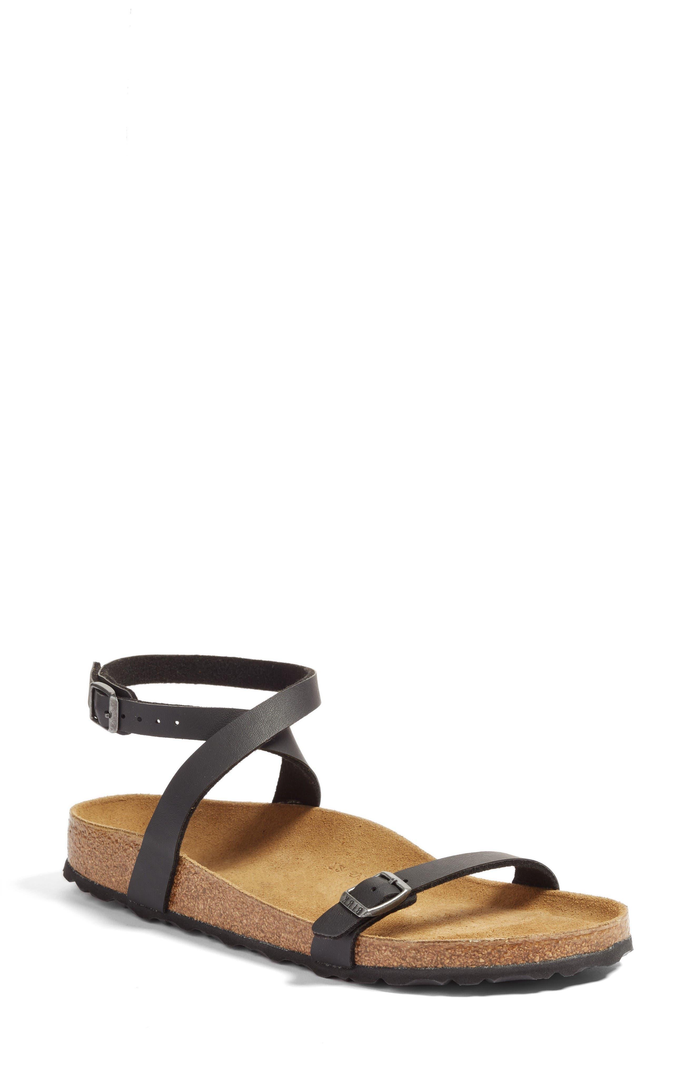 Daloa Ankle Strap Sandal,                             Main thumbnail 1, color,                             Black