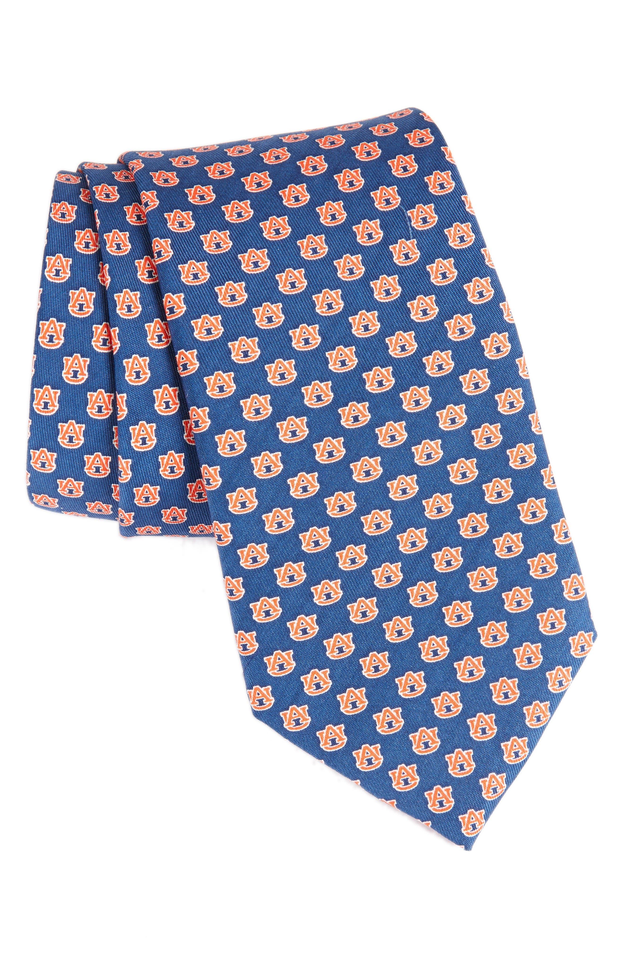 Auburn University Silk Tie,                             Main thumbnail 1, color,                             Vineyard Navy