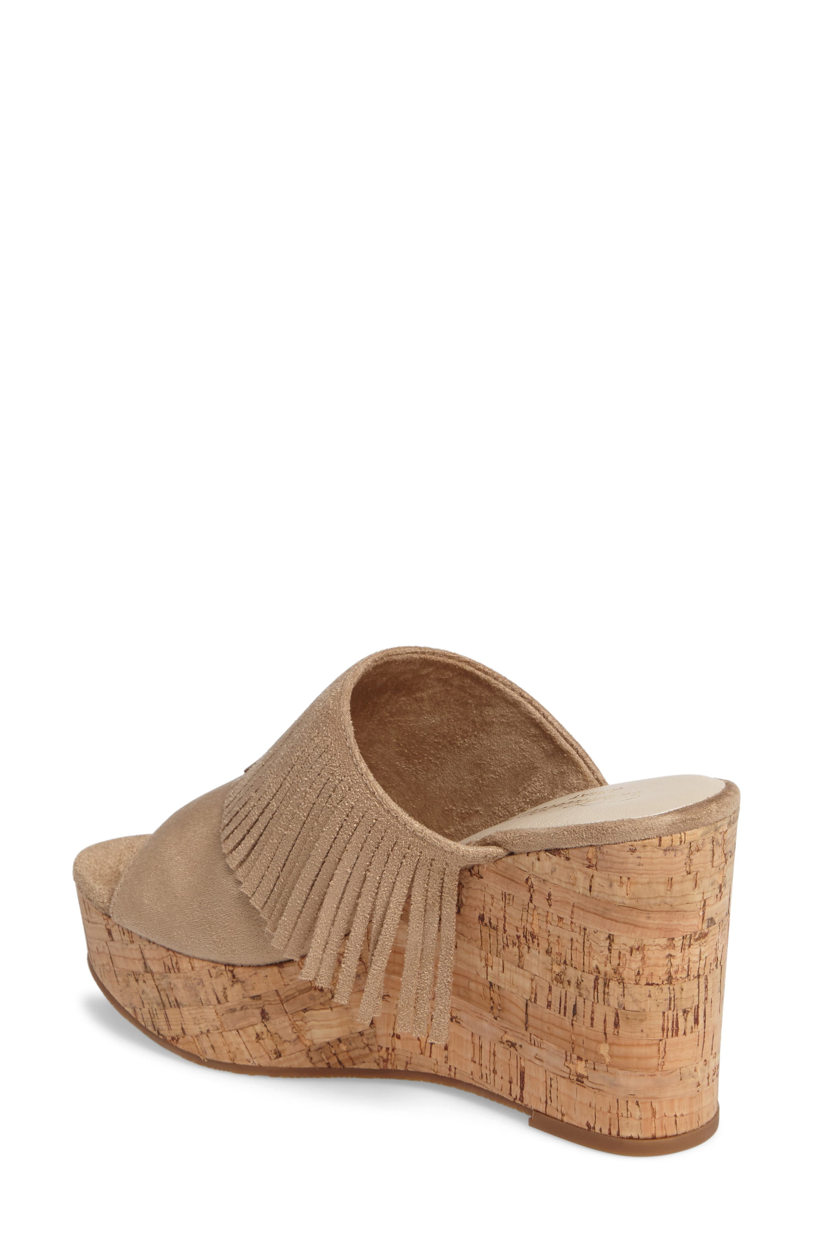 Unbridled Leigh Fringe Mule,                             Alternate thumbnail 2, color,                             Sand Fabric