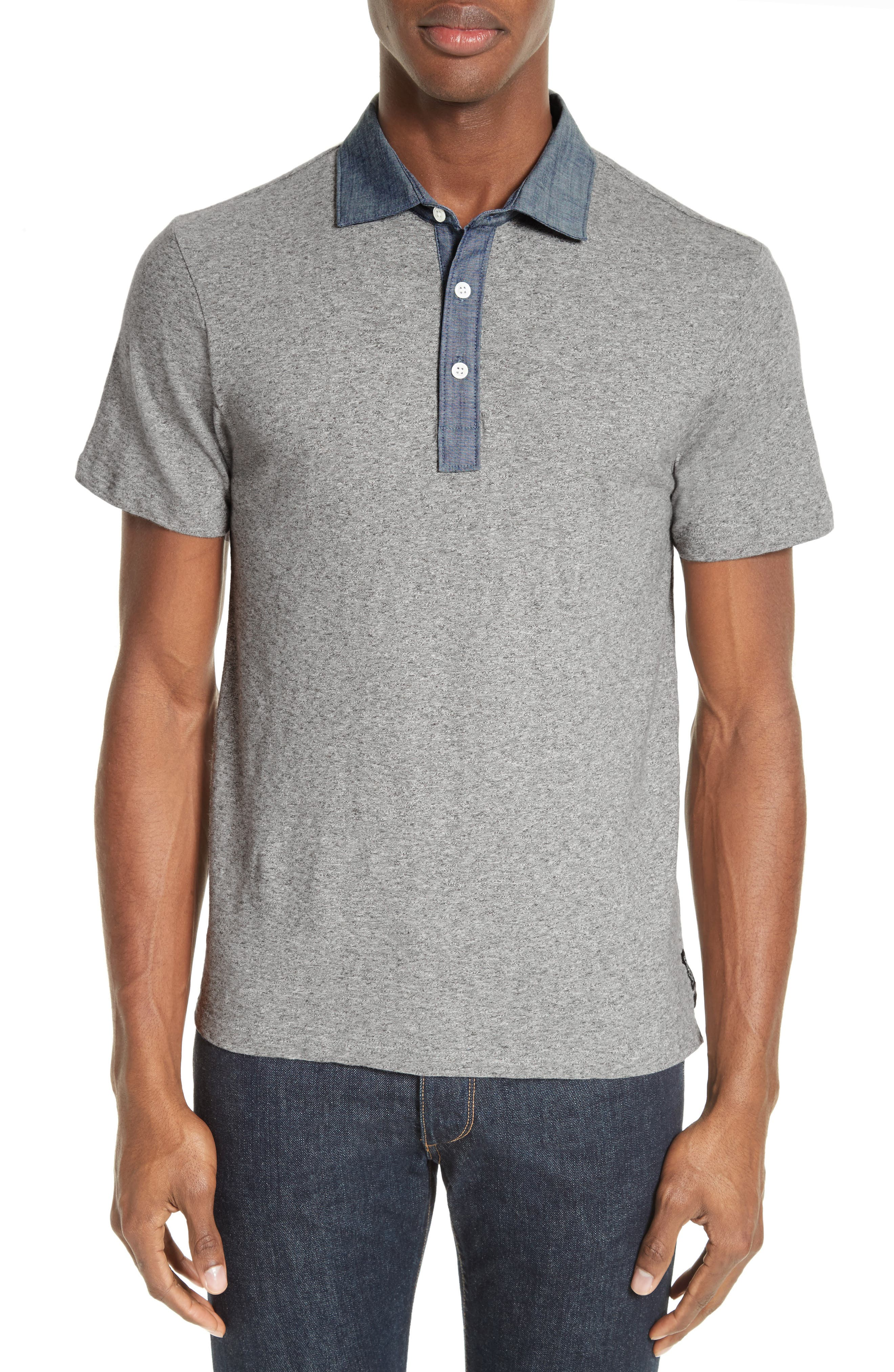 Chambray Slim Polo,                         Main,                         color, Grey