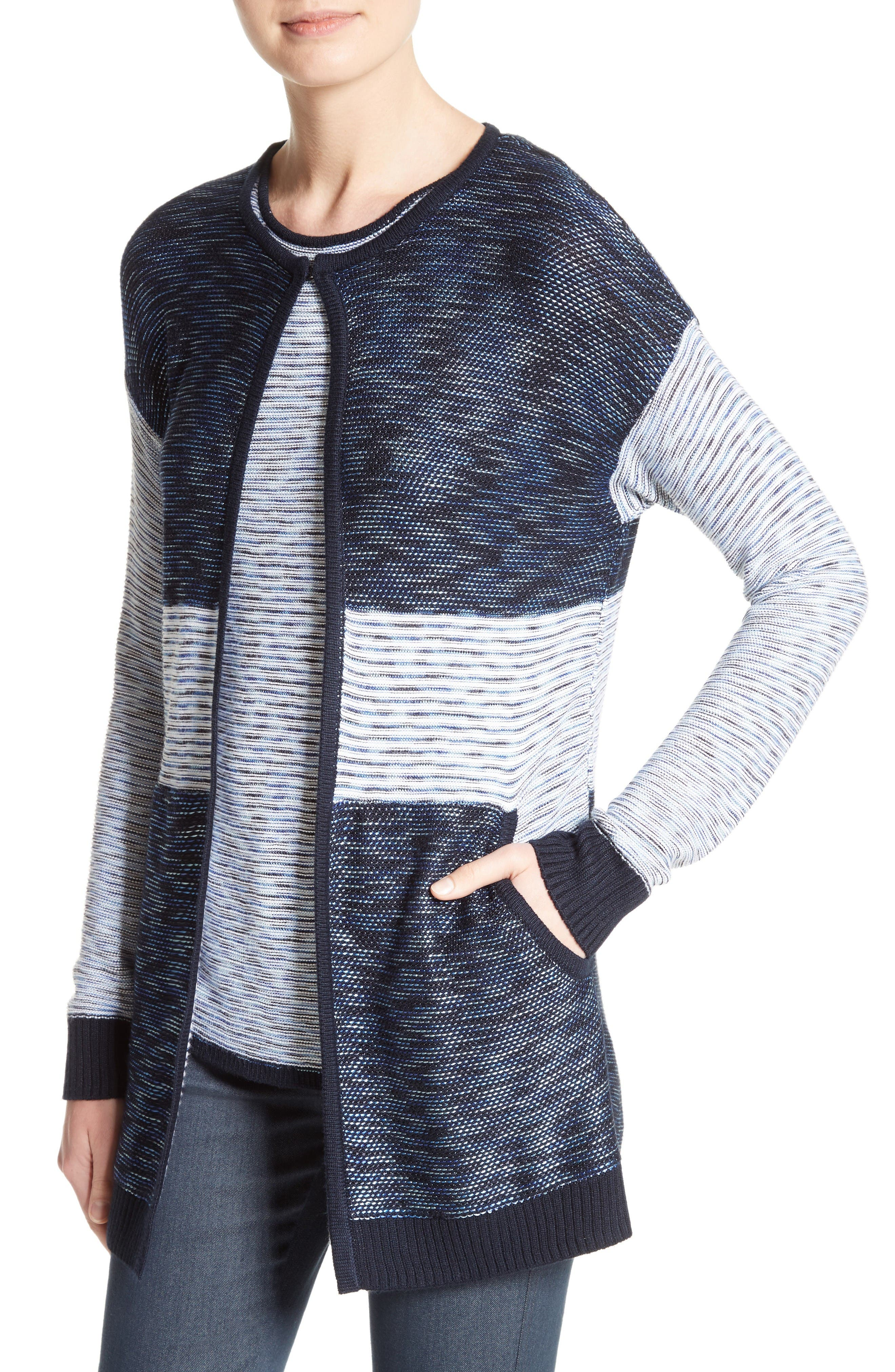 Chambray Effect Links Knit Cardigan,                             Alternate thumbnail 4, color,                             Bianco/ Navy Multi