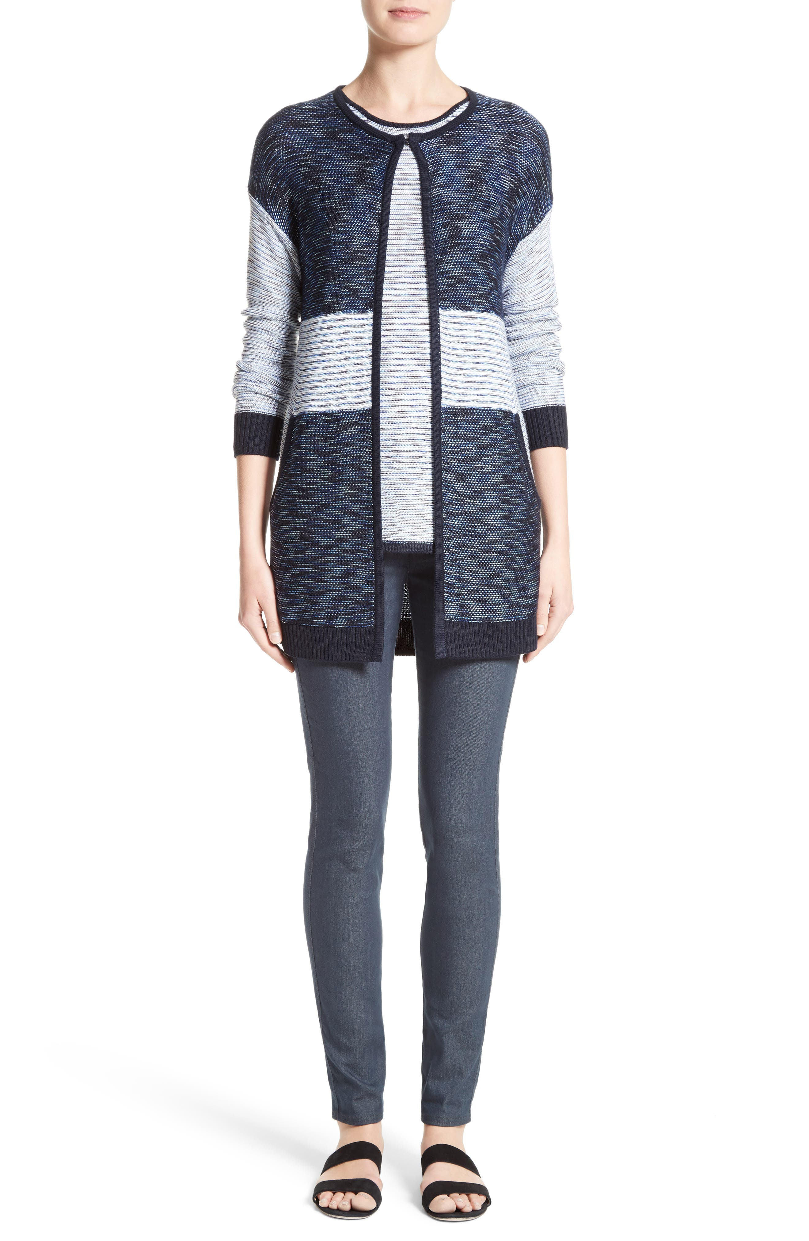 Chambray Effect Links Knit Cardigan,                             Alternate thumbnail 8, color,                             Bianco/ Navy Multi