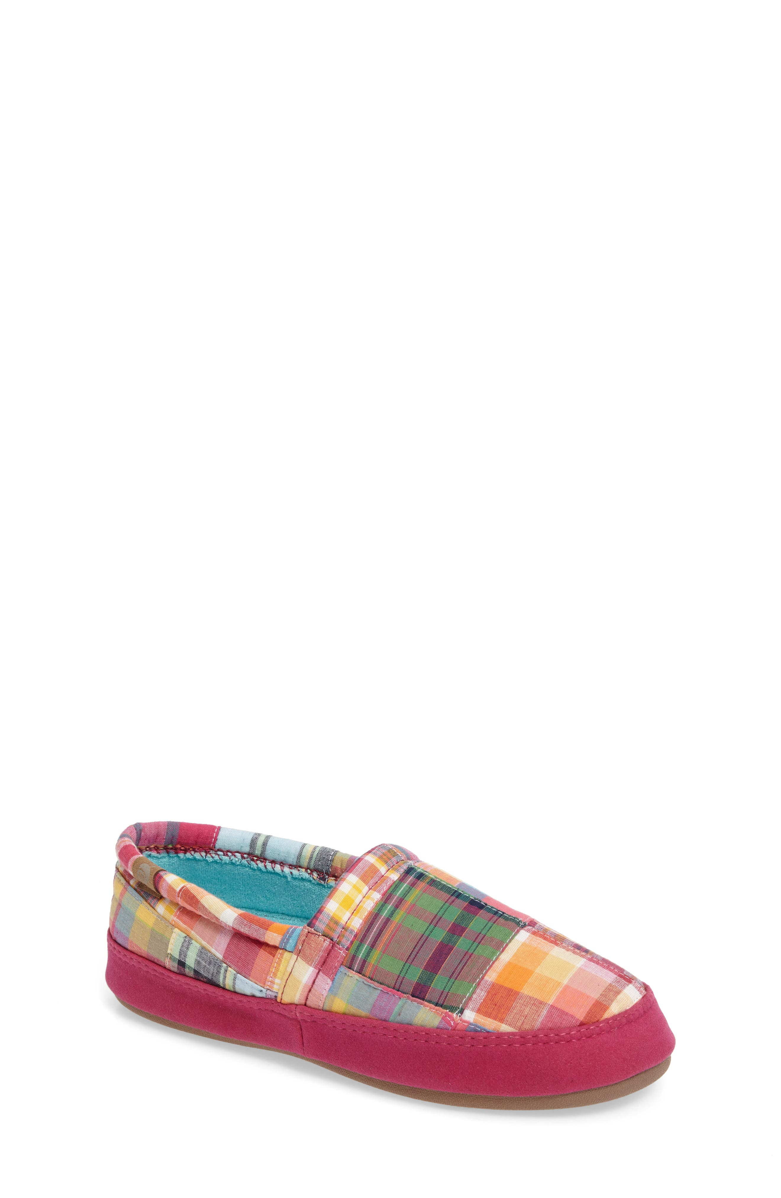 ACORN Summer Weight Moc Slipper, Bright Madras Fabric