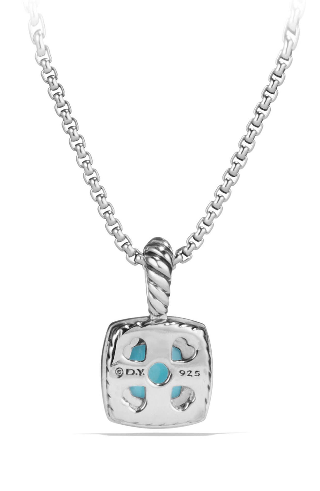 Petite Albion<sup>®</sup> Pendant Necklace with Diamonds,                             Alternate thumbnail 2, color,                             Silver/ Turquoise