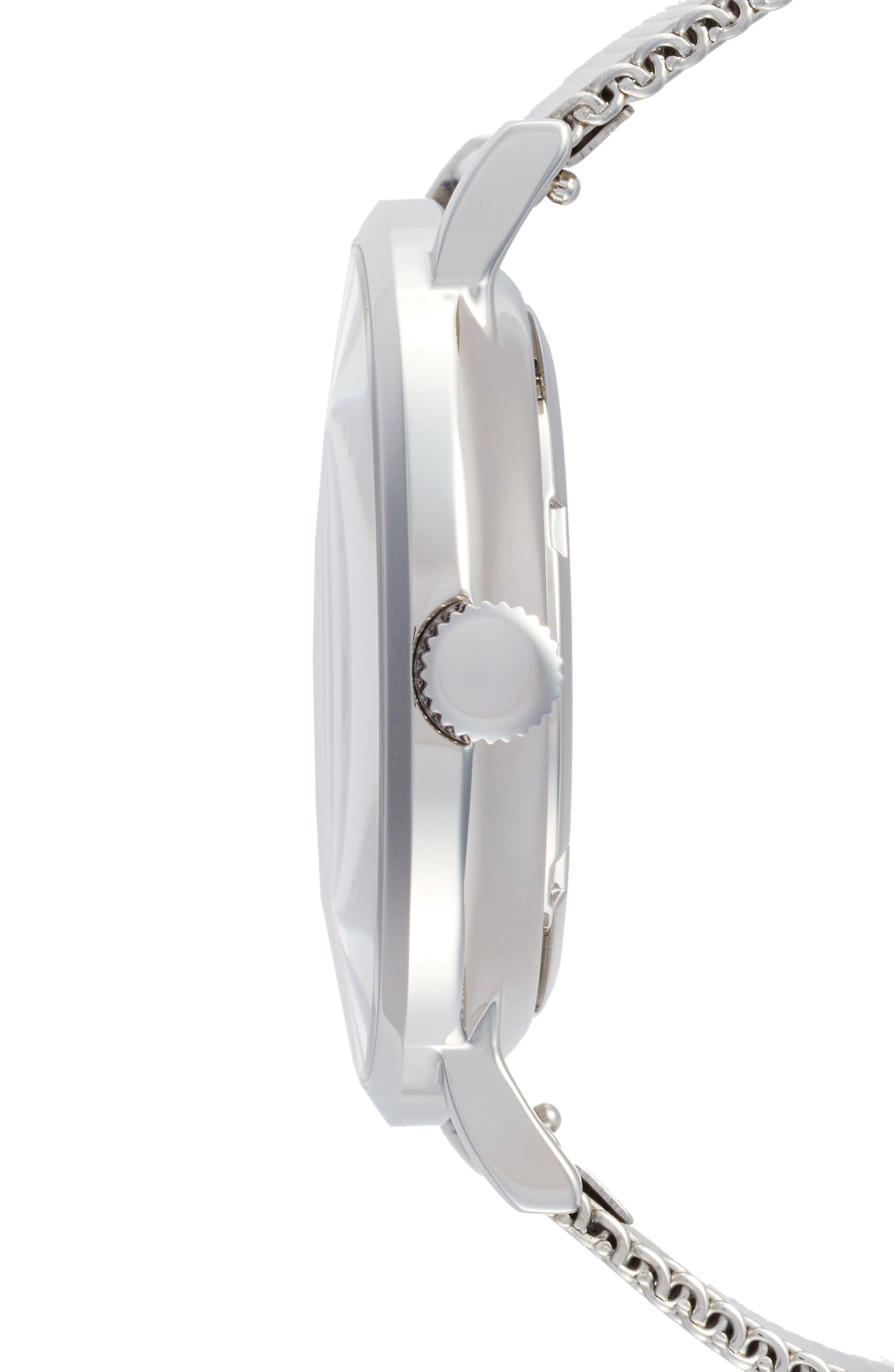 1.0 Mesh Strap Watch, 40mm,                             Alternate thumbnail 3, color,                             Silver/ White