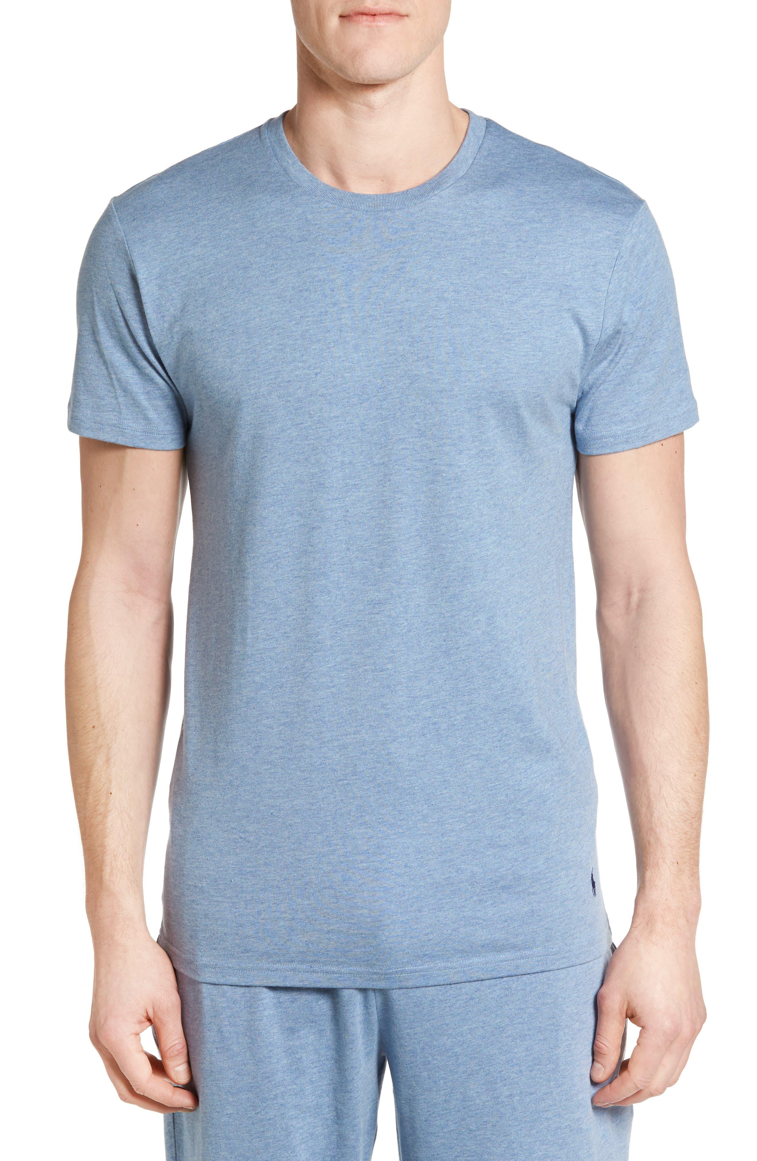 Crewneck Cotton & Modal T-Shirt,                         Main,                         color, Blue Heather