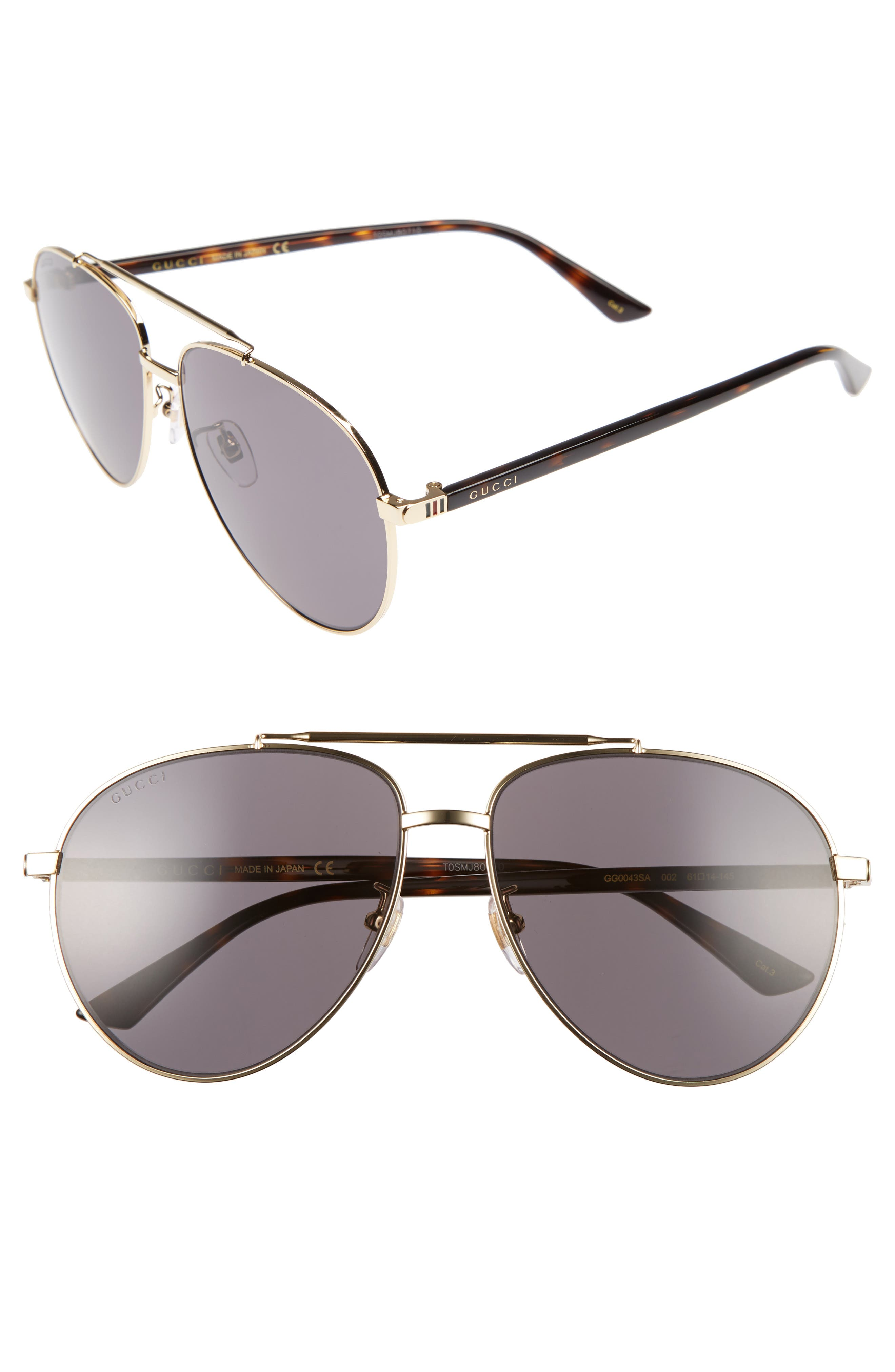 GUCCI Retro Web 61mm Aviator Sunglasses