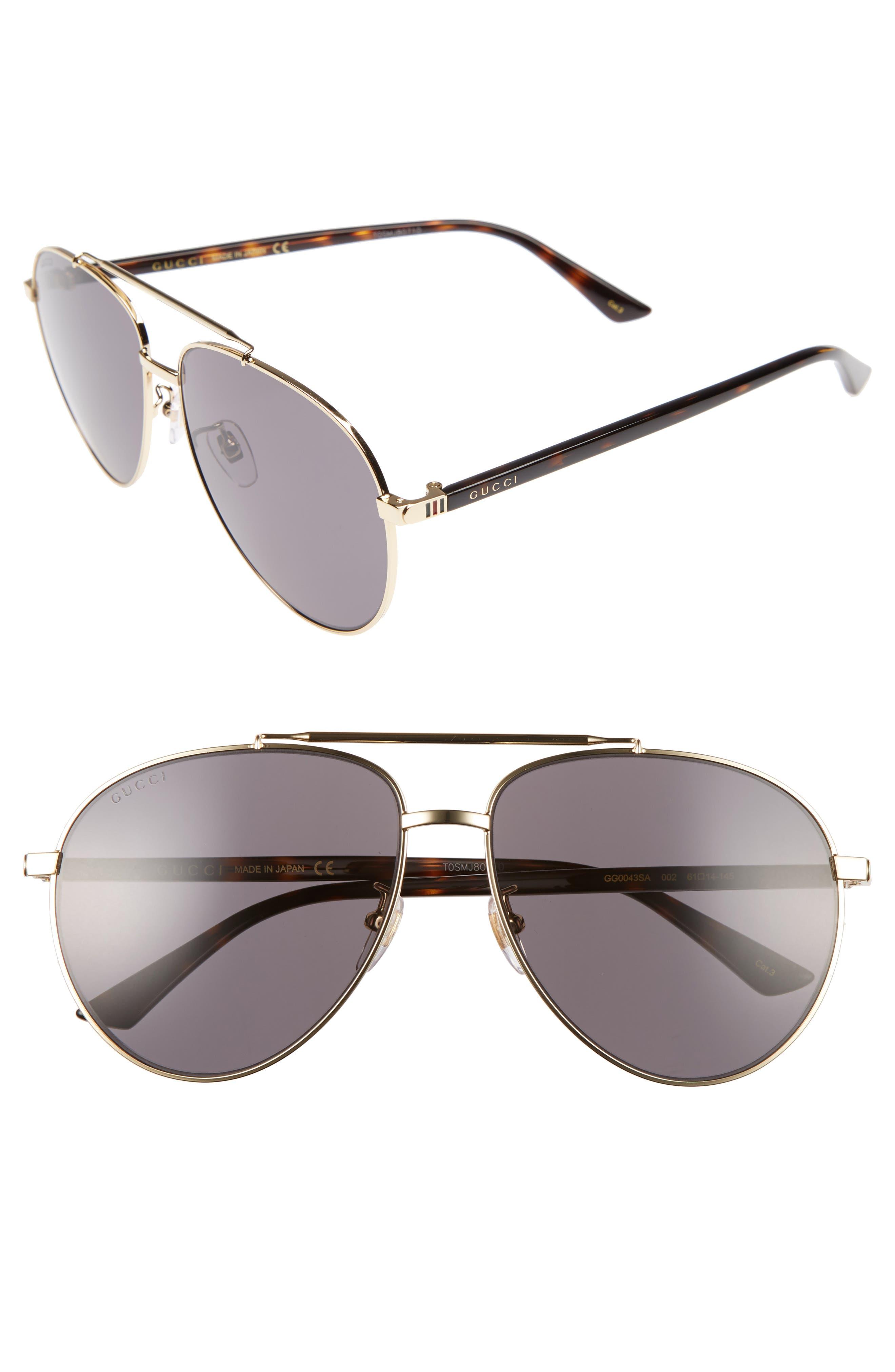 Gucci Retro Web 61mm Aviator Sunglasses