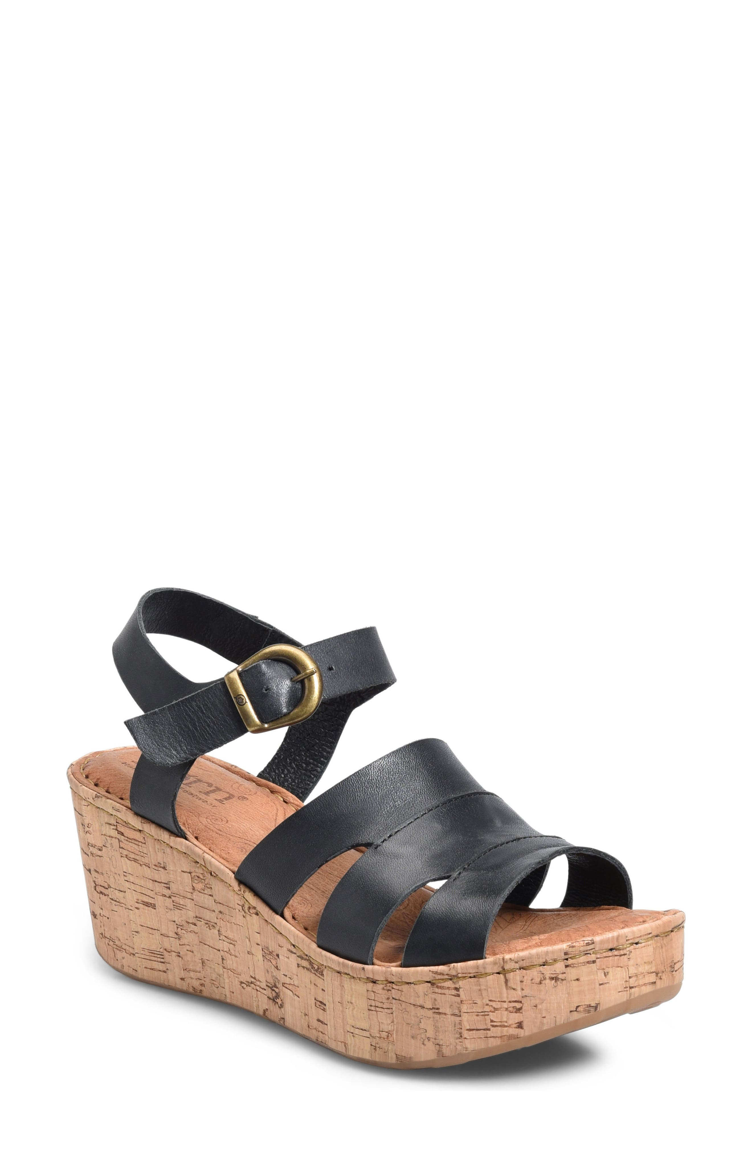 Anori Platform Wedge Sandal,                         Main,                         color, Black Leather