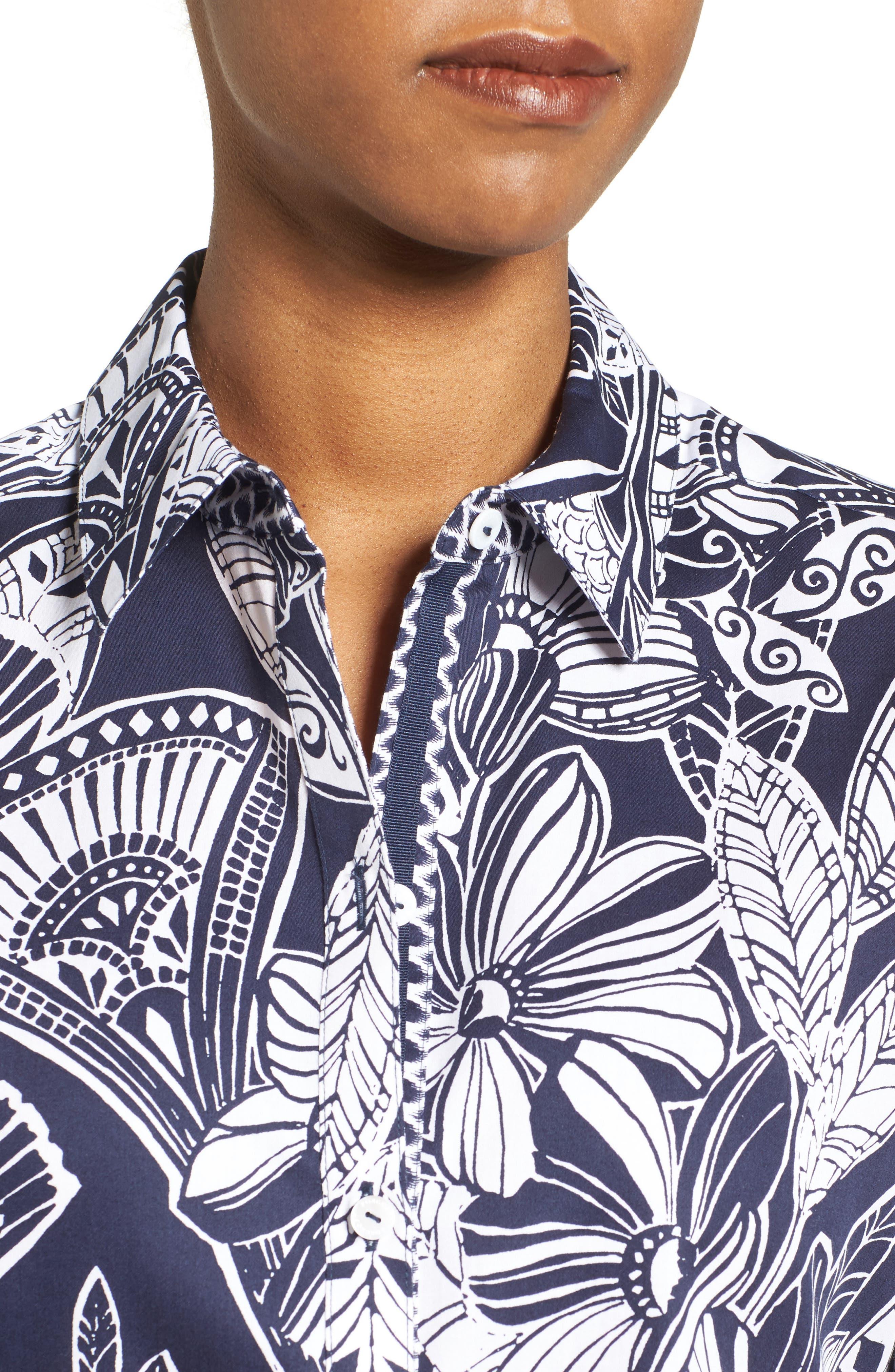 Alternate Image 4  - Foxcroft Floral Print Shirt (Regular & Petite)