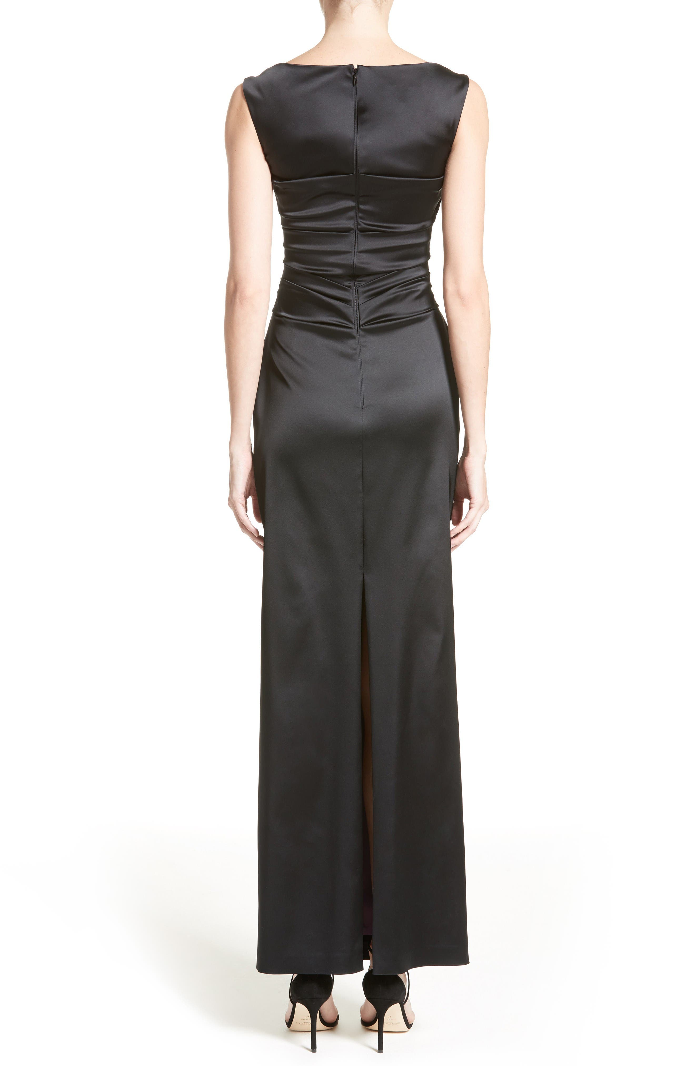 Stretch Satin Column Gown,                             Alternate thumbnail 2, color,                             Black