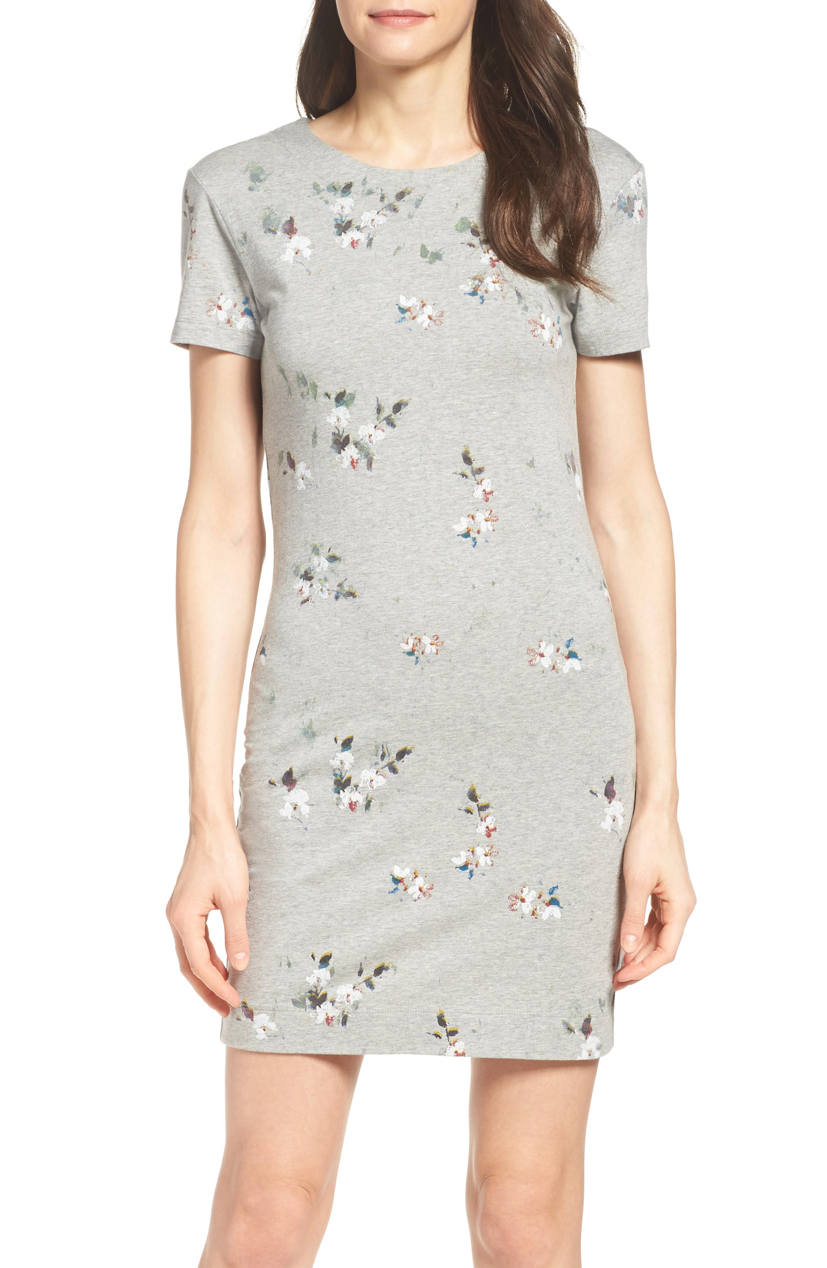 Blossom T-Shirt Dress,                             Main thumbnail 1, color,                             Grey