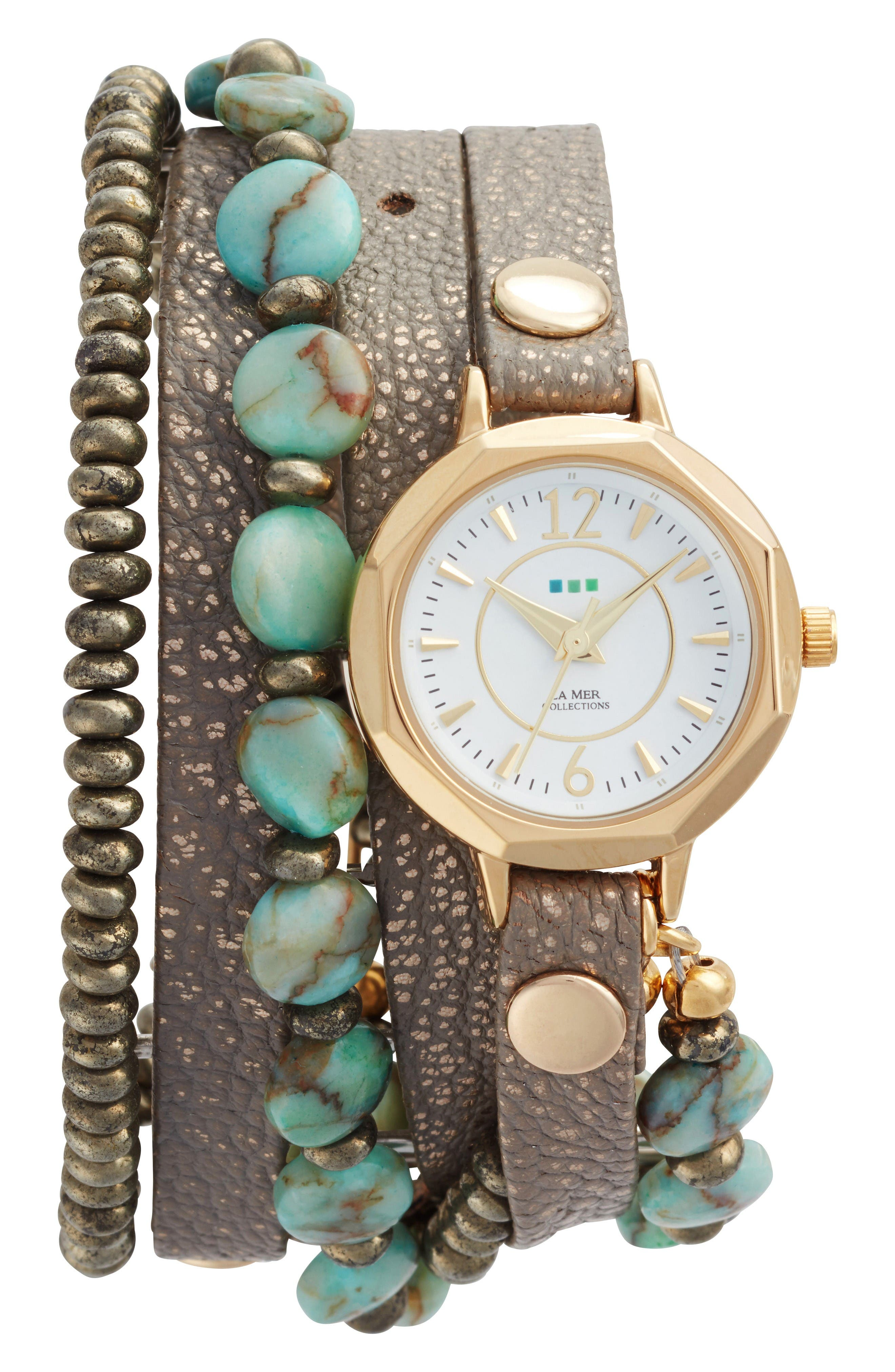 La Mer Collections Stone & Leather Wrap Strap Watch, 35mm